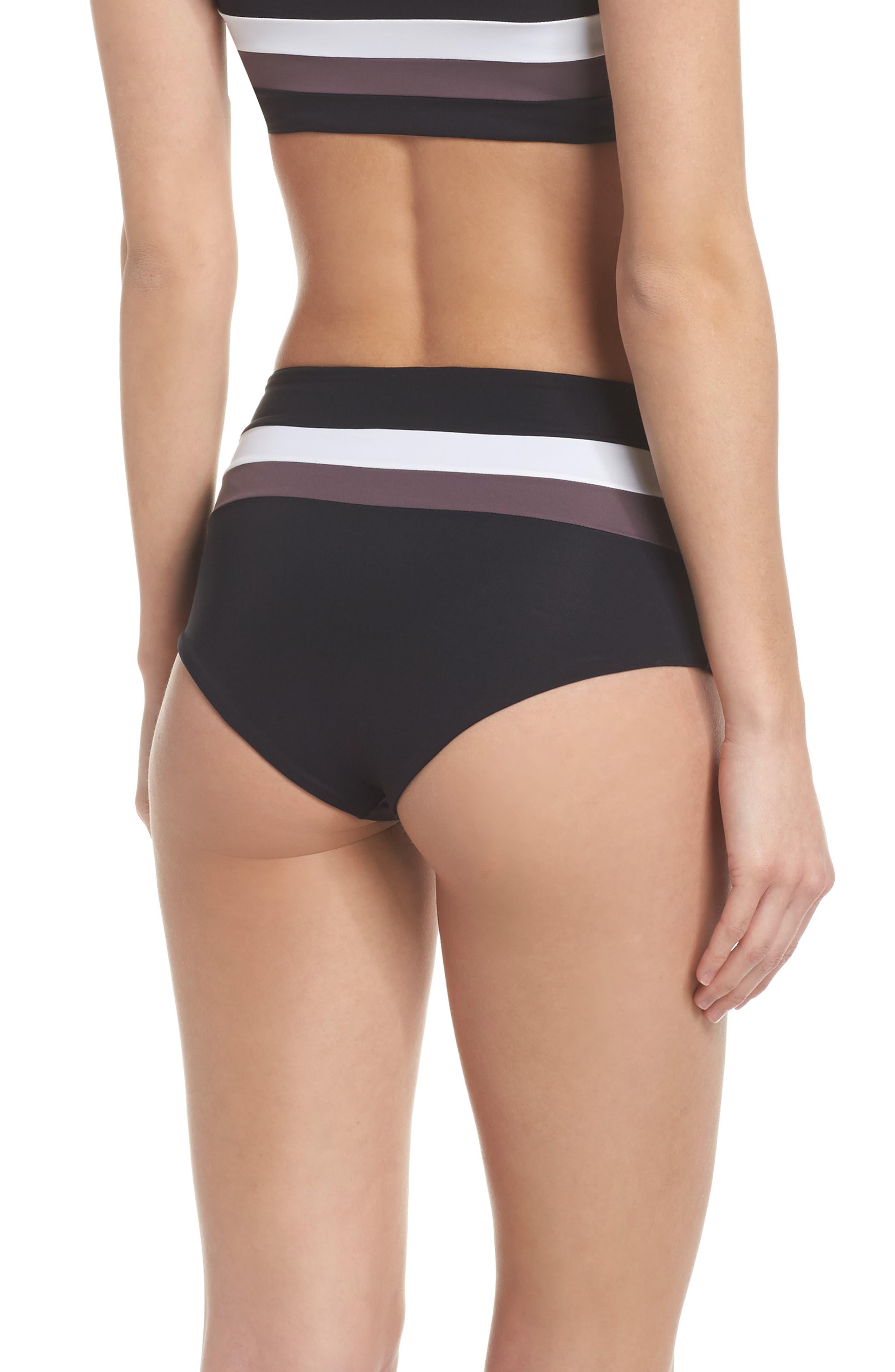 Portia Reversible Colorblock Bikini Bottoms,                             Alternate thumbnail 3, color,                             Black