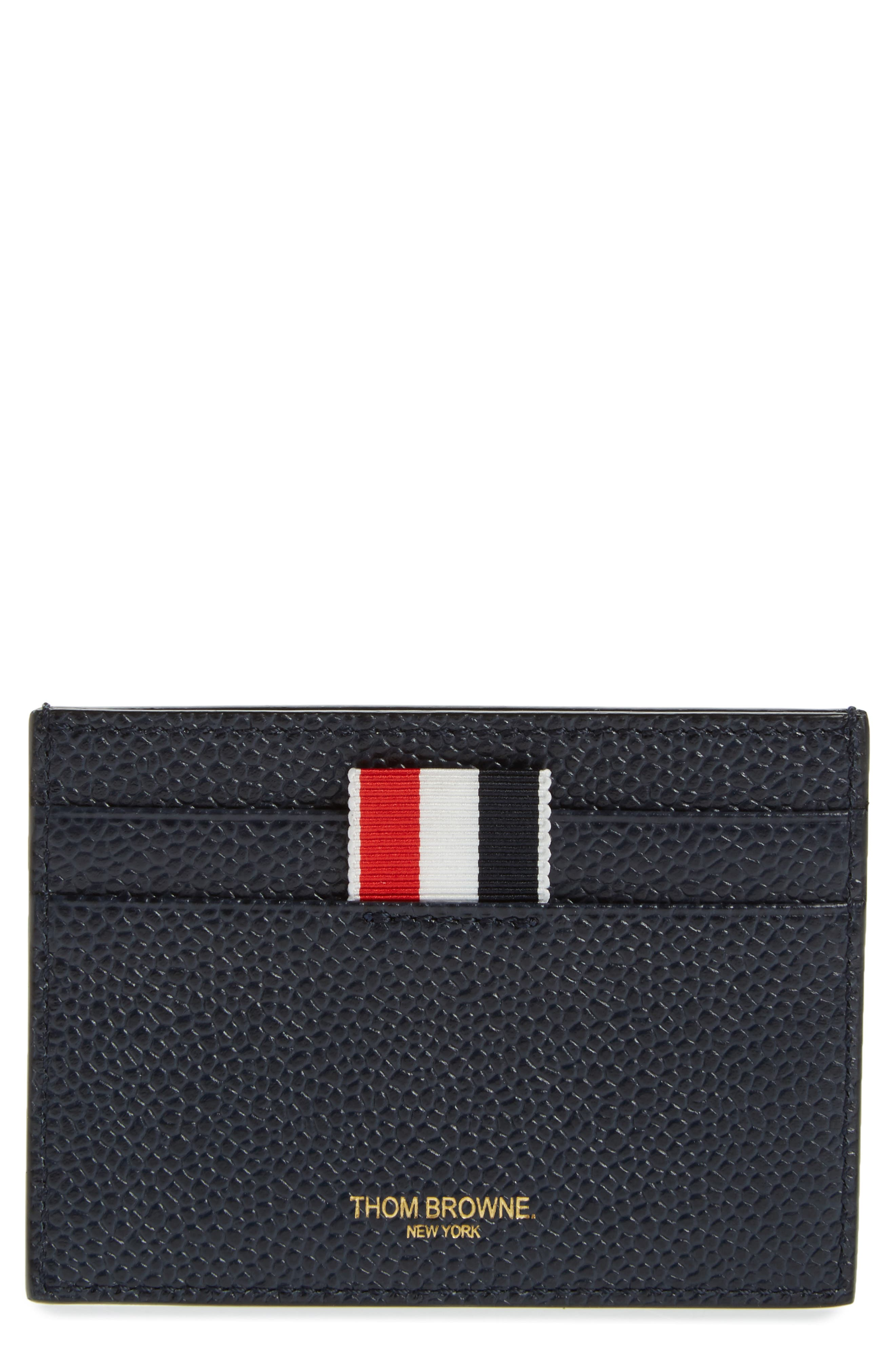 Stripe Leather Card Case,                         Main,                         color, Navy