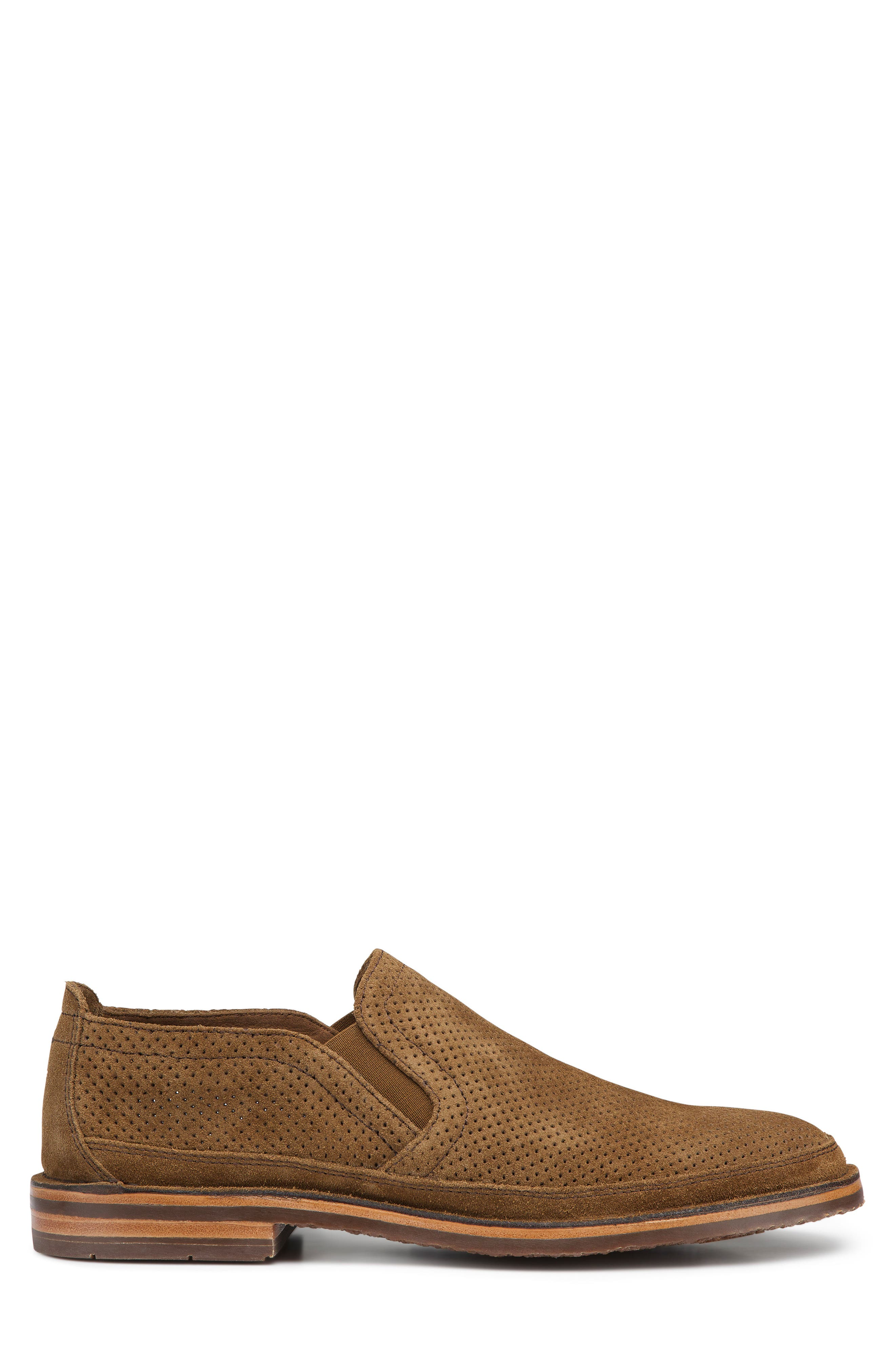 Bradley Perforated Slip-On,                             Alternate thumbnail 3, color,                             Brown Suede