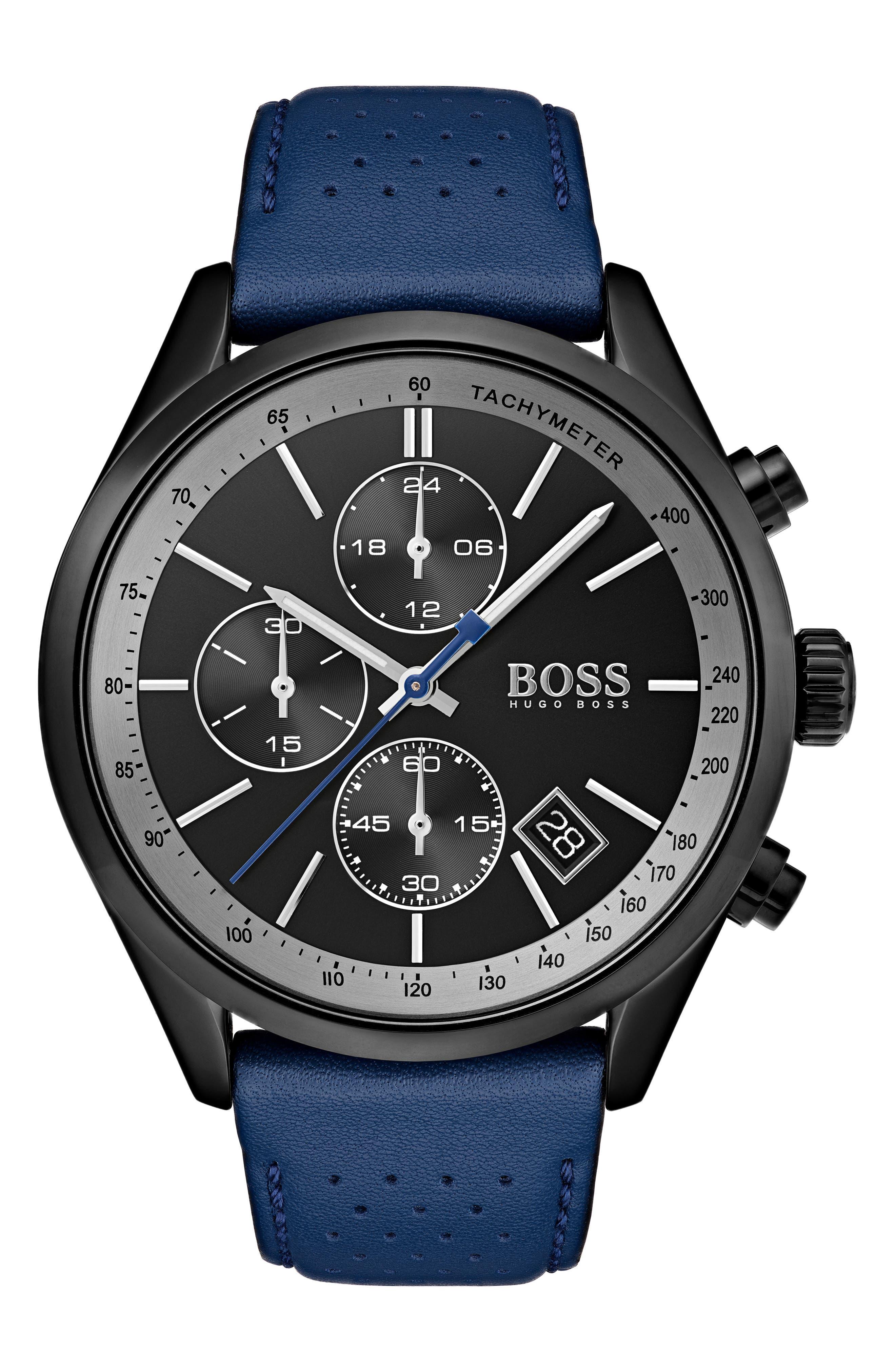 BOSS Grand Prix Leather Strap Chronograph Watch, 44mm