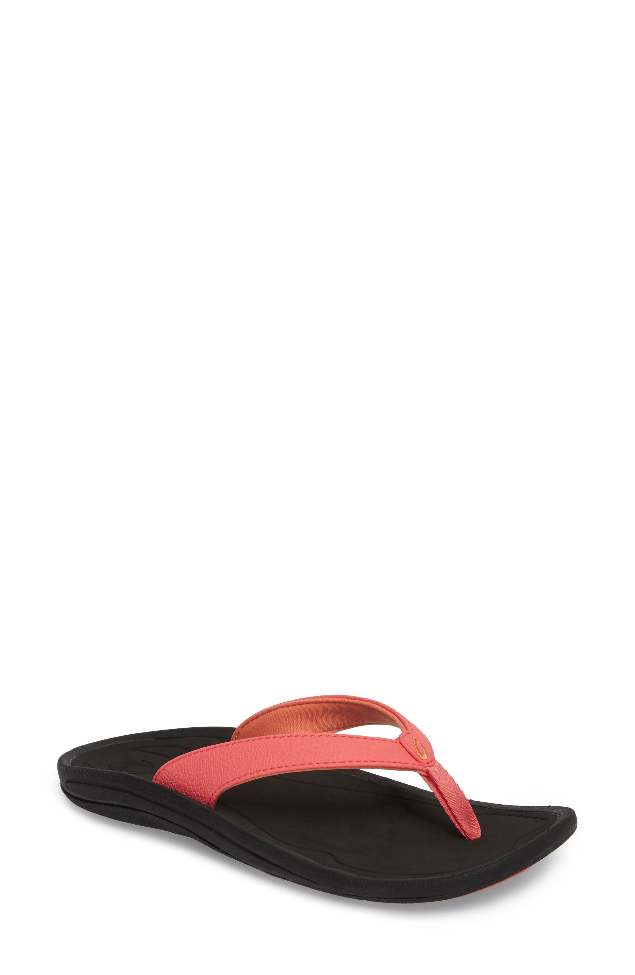 'Kulapa Kai' Thong Sandal,                             Main thumbnail 1, color,                             Guava Jelly/ Black Faux