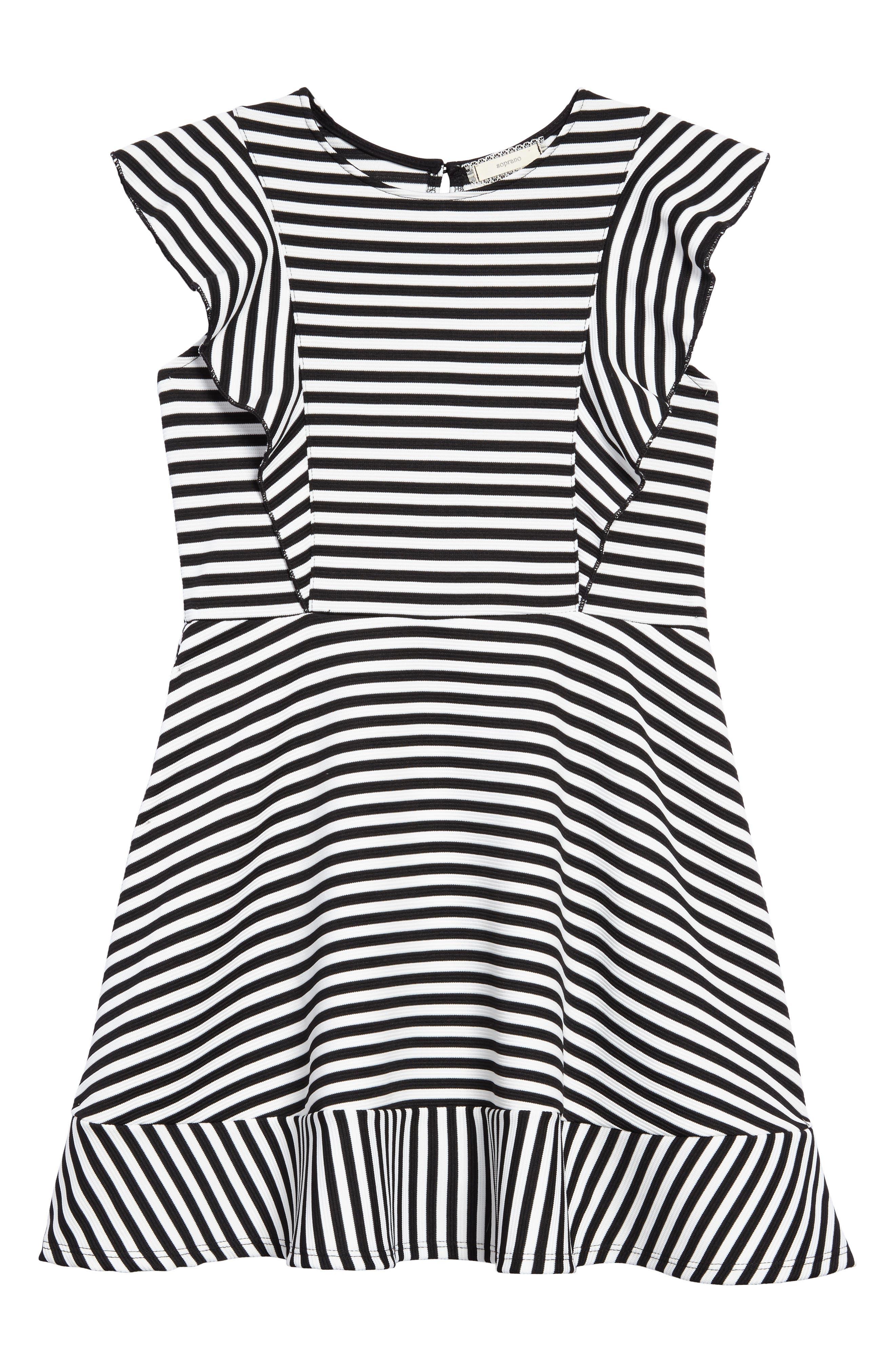 Stripe Skater Dress,                             Main thumbnail 1, color,                             Black