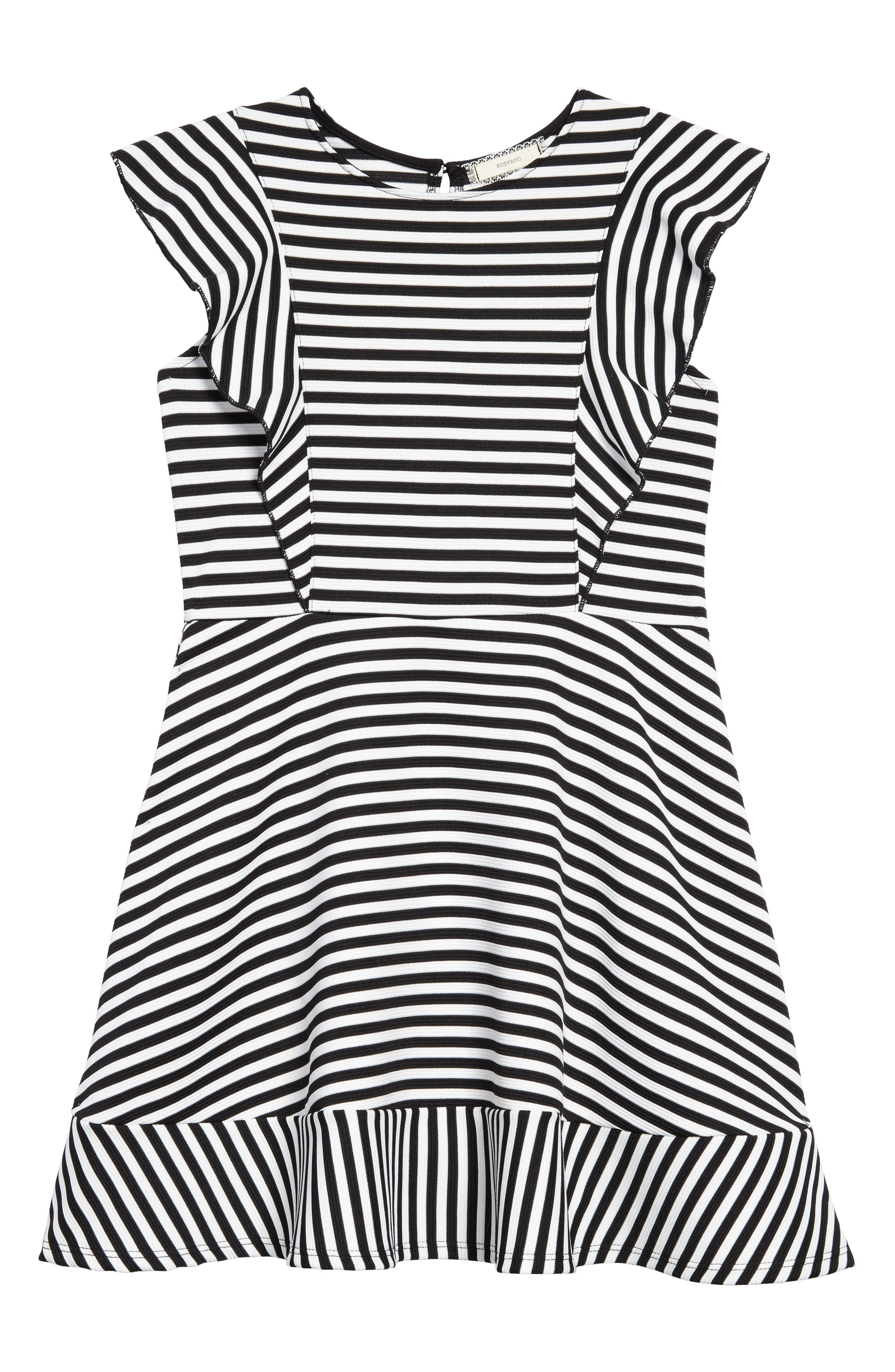Stripe Skater Dress,                         Main,                         color, Black