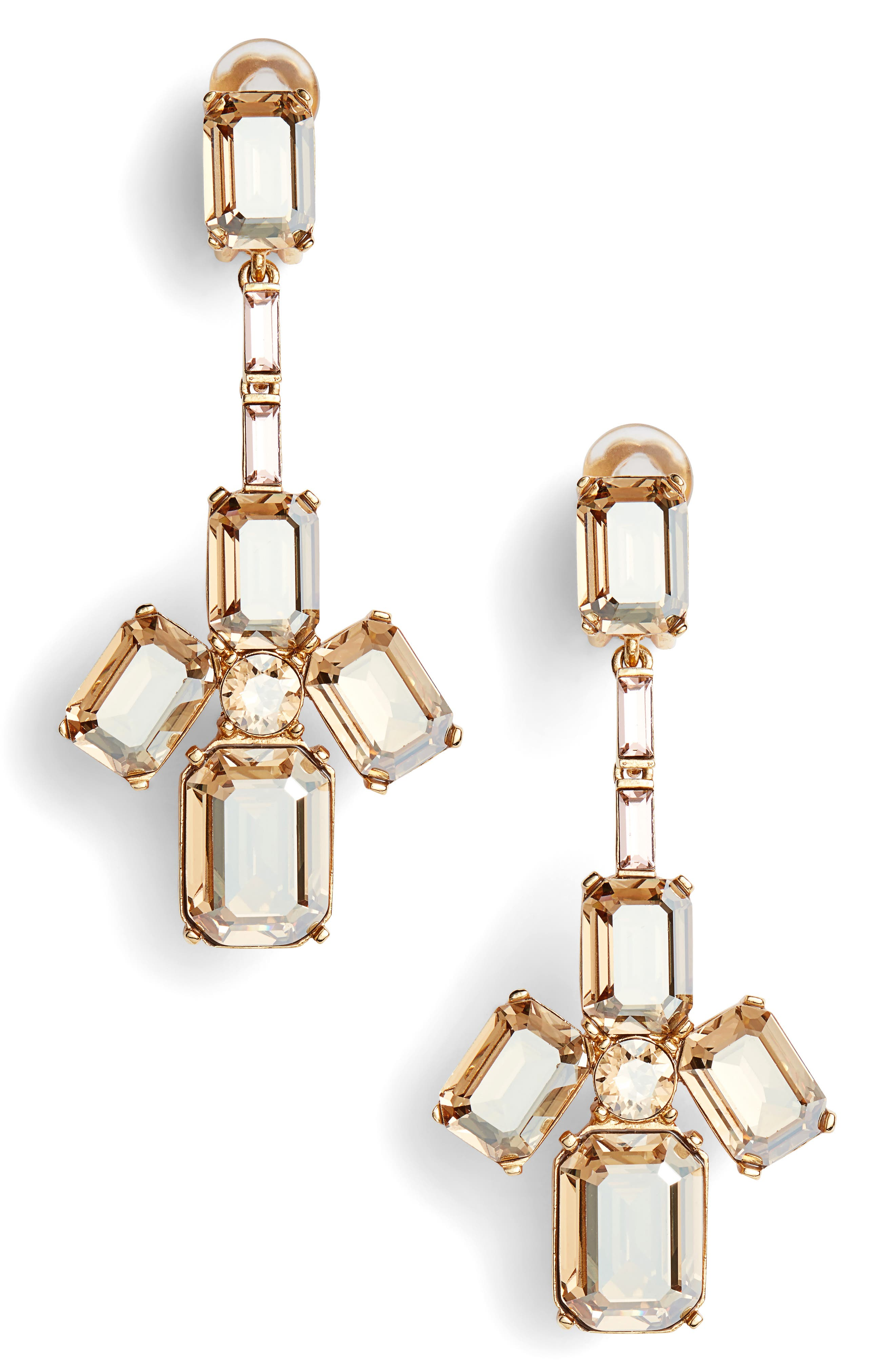 Tendril Crystal Clip Earrings,                             Main thumbnail 1, color,                             Cry Gold Shadow