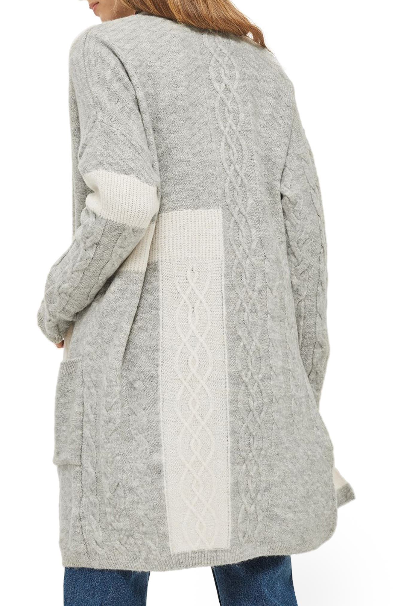 Patchwork Cardigan,                             Alternate thumbnail 3, color,                             Grey Multi