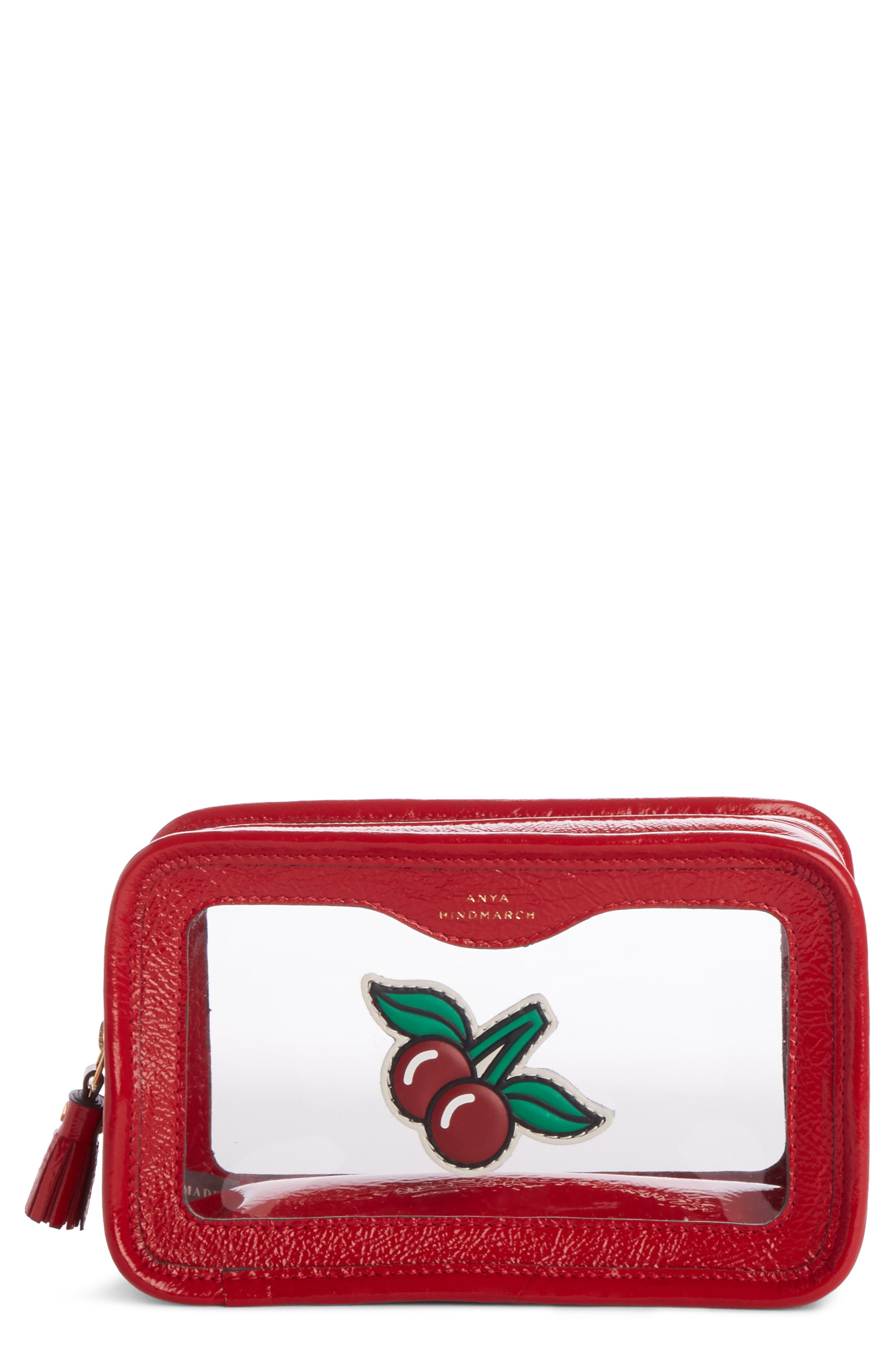 Rainy Day Cosmetic Bag,                         Main,                         color, Red