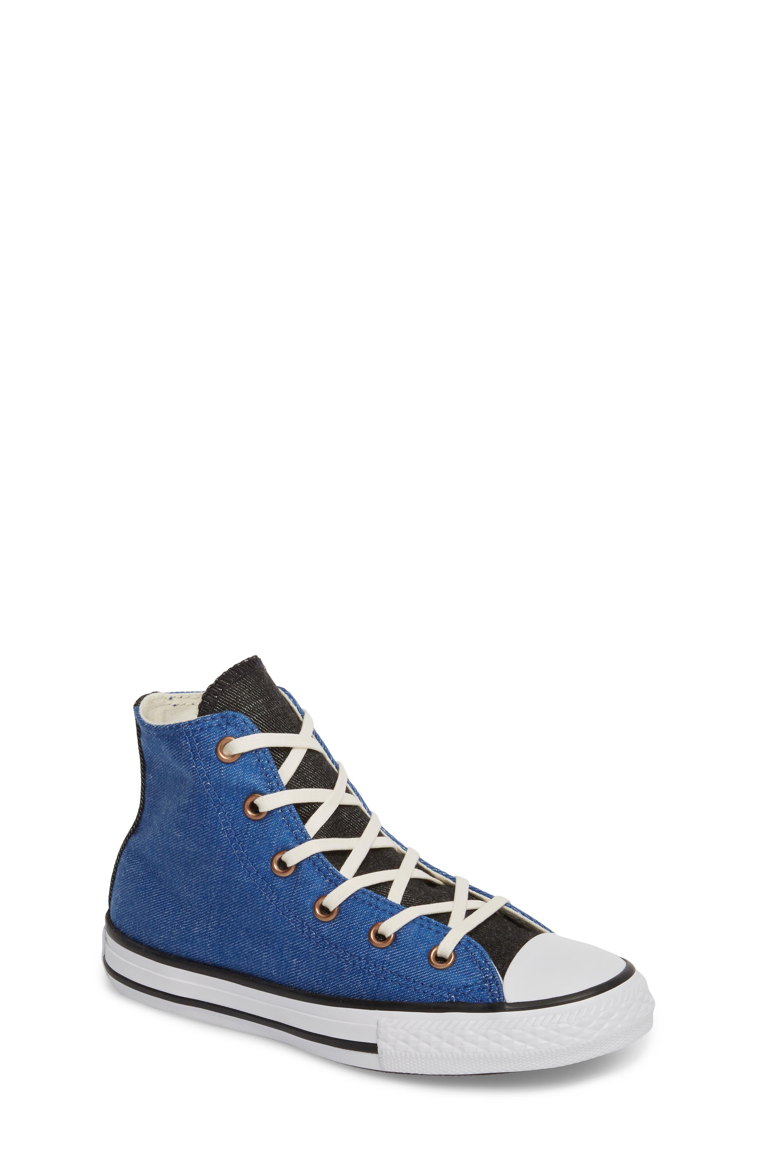 Chuck Taylor<sup>®</sup> All Star<sup>®</sup> Chambray High Top Sneaker,                             Main thumbnail 1, color,                             Nightfall Blue