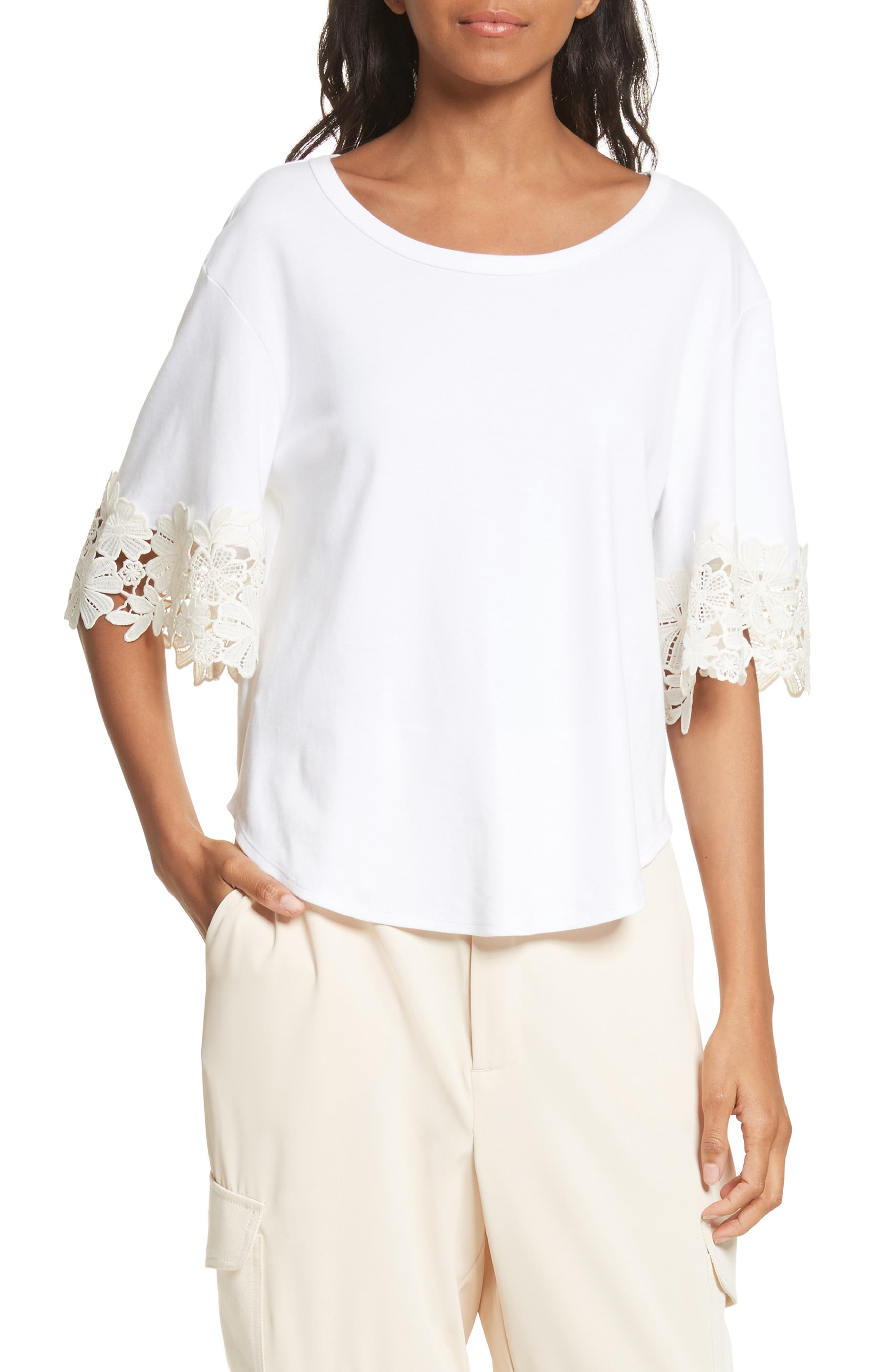 Lace Cuff Tee,                         Main,                         color, White