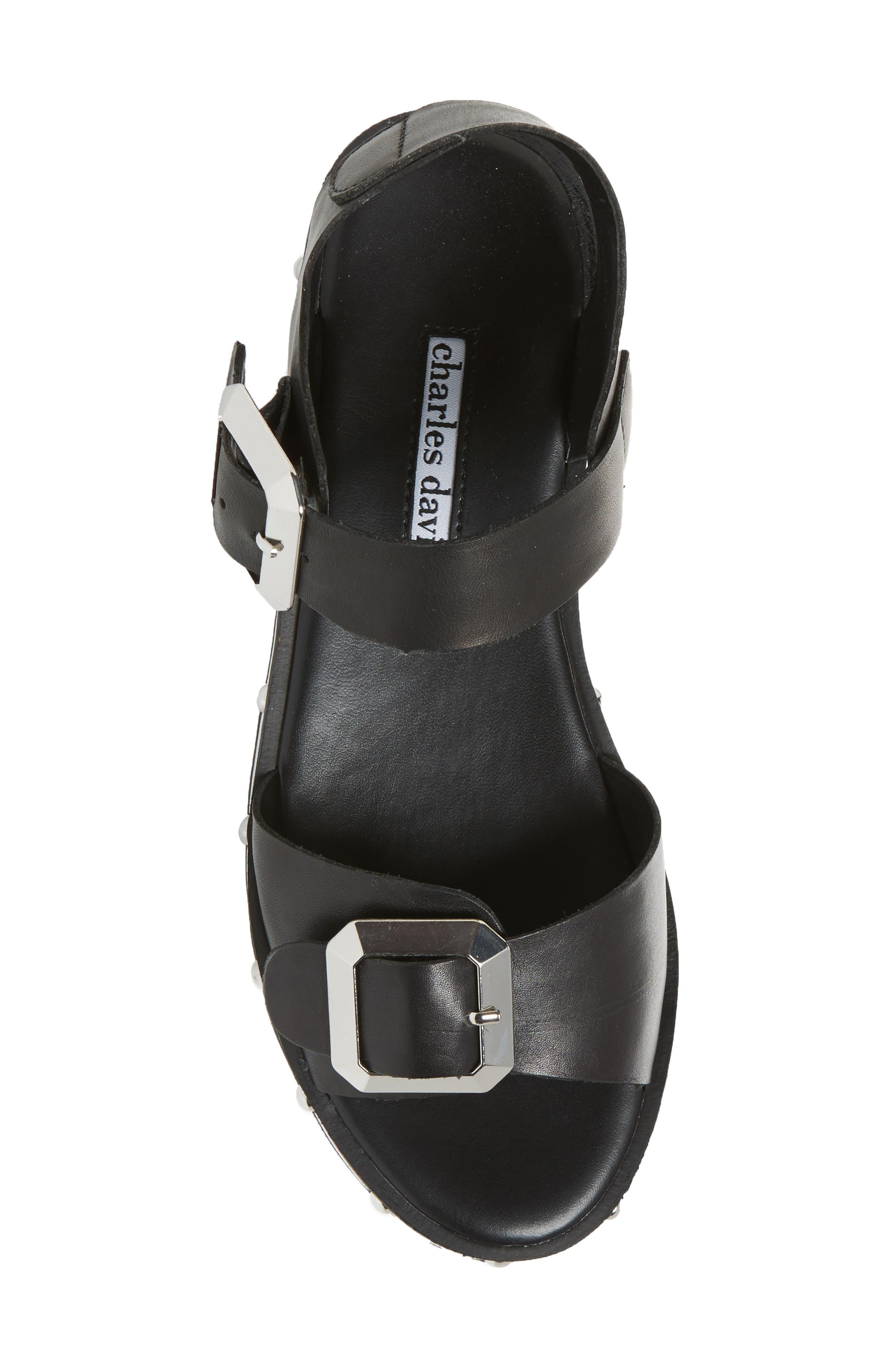 Spy Sandal,                             Alternate thumbnail 5, color,                             Black Leather
