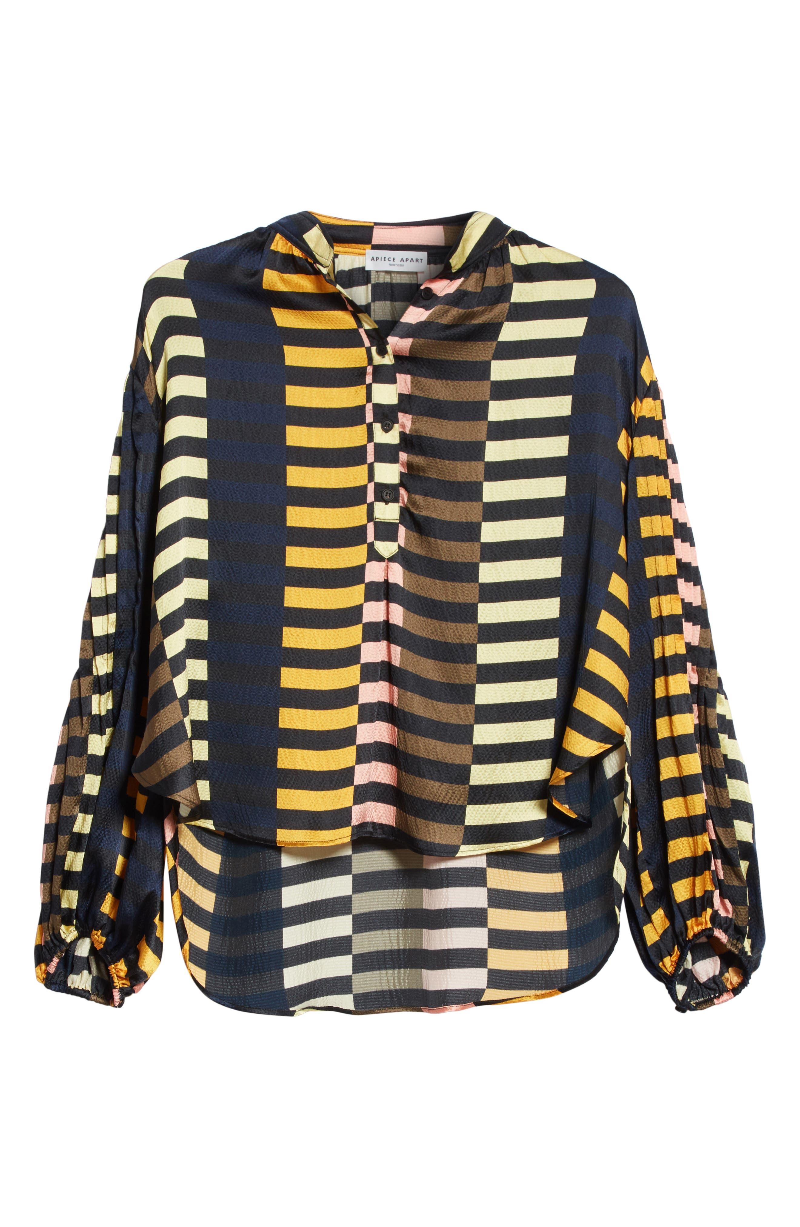 Nuevo Bravo Stripe Silk Top,                             Alternate thumbnail 6, color,                             Majorelle Print