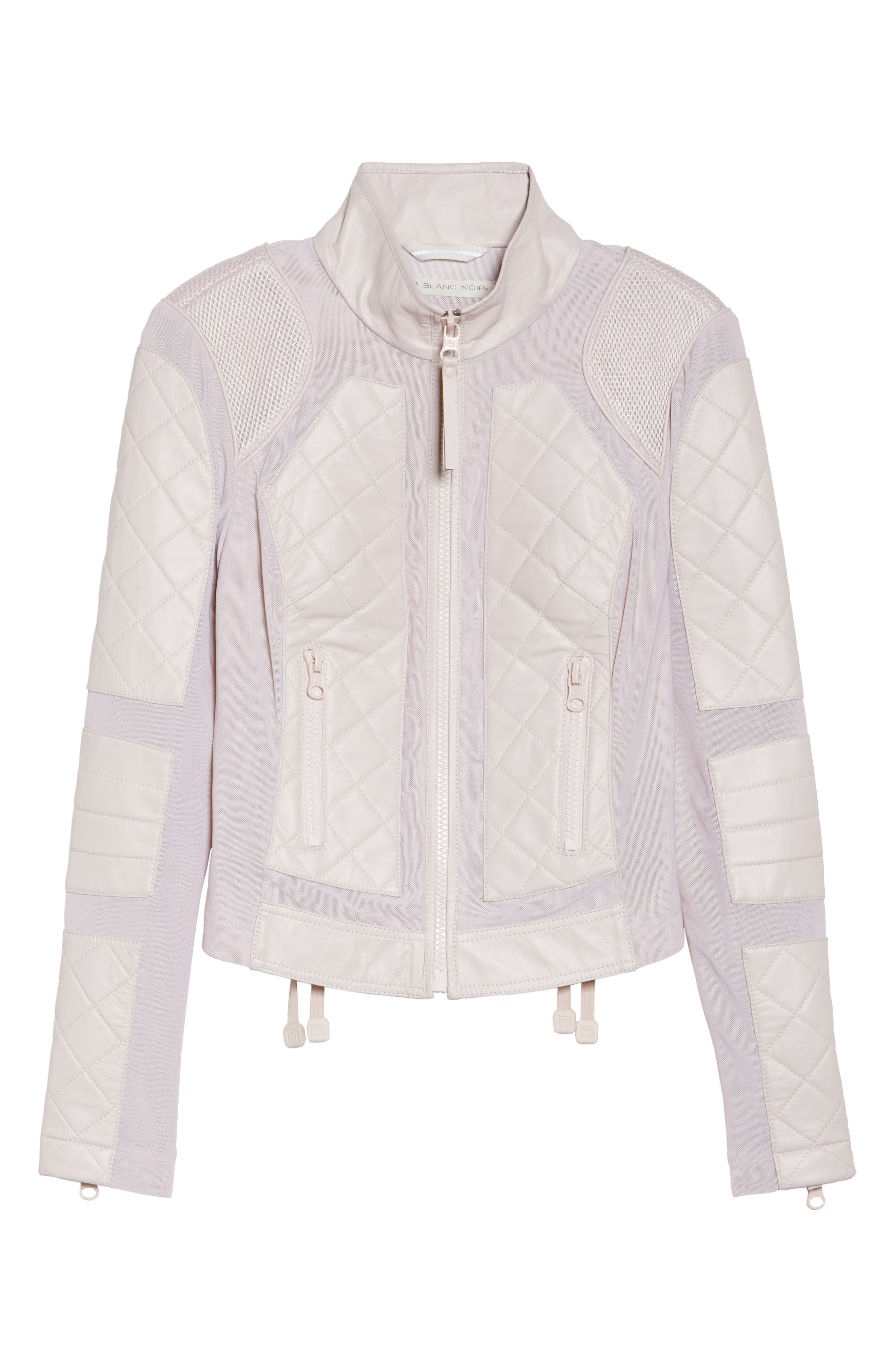 Leather & Mesh Moto Jacket,                             Alternate thumbnail 7, color,                             Pink