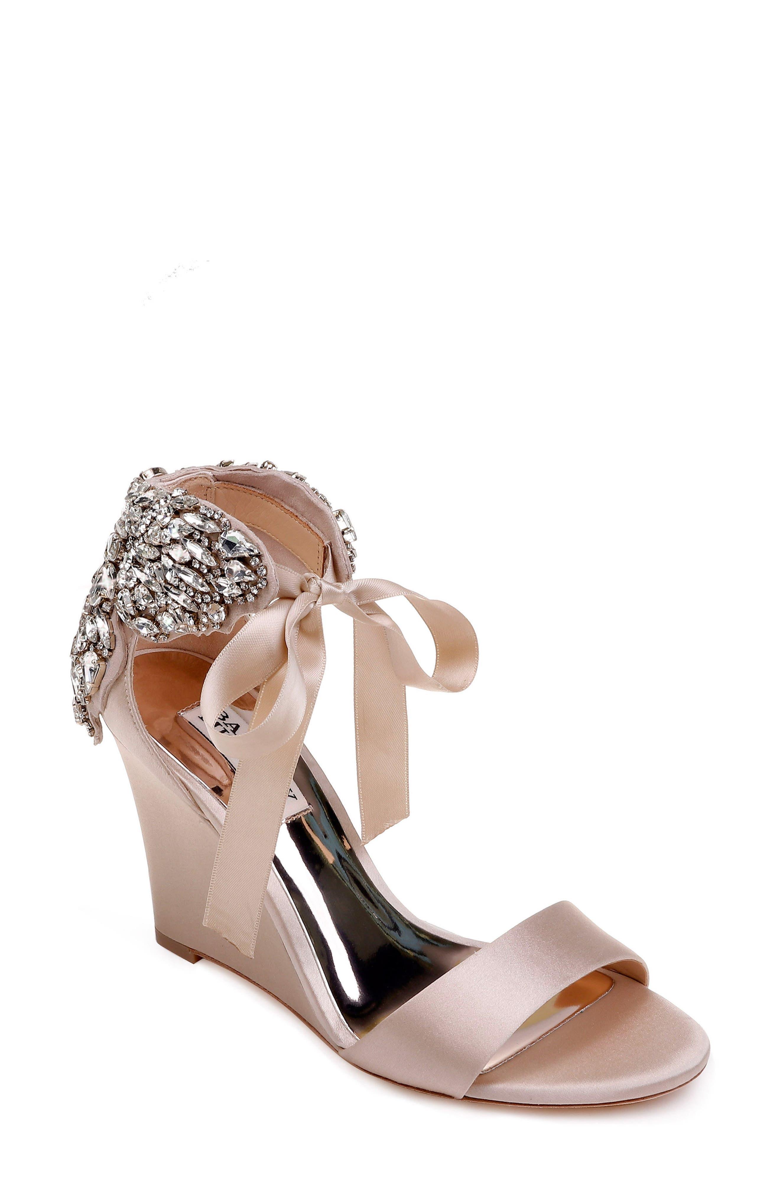 Badgley Mischka Heather Crystal Embellished Wedge (Women)
