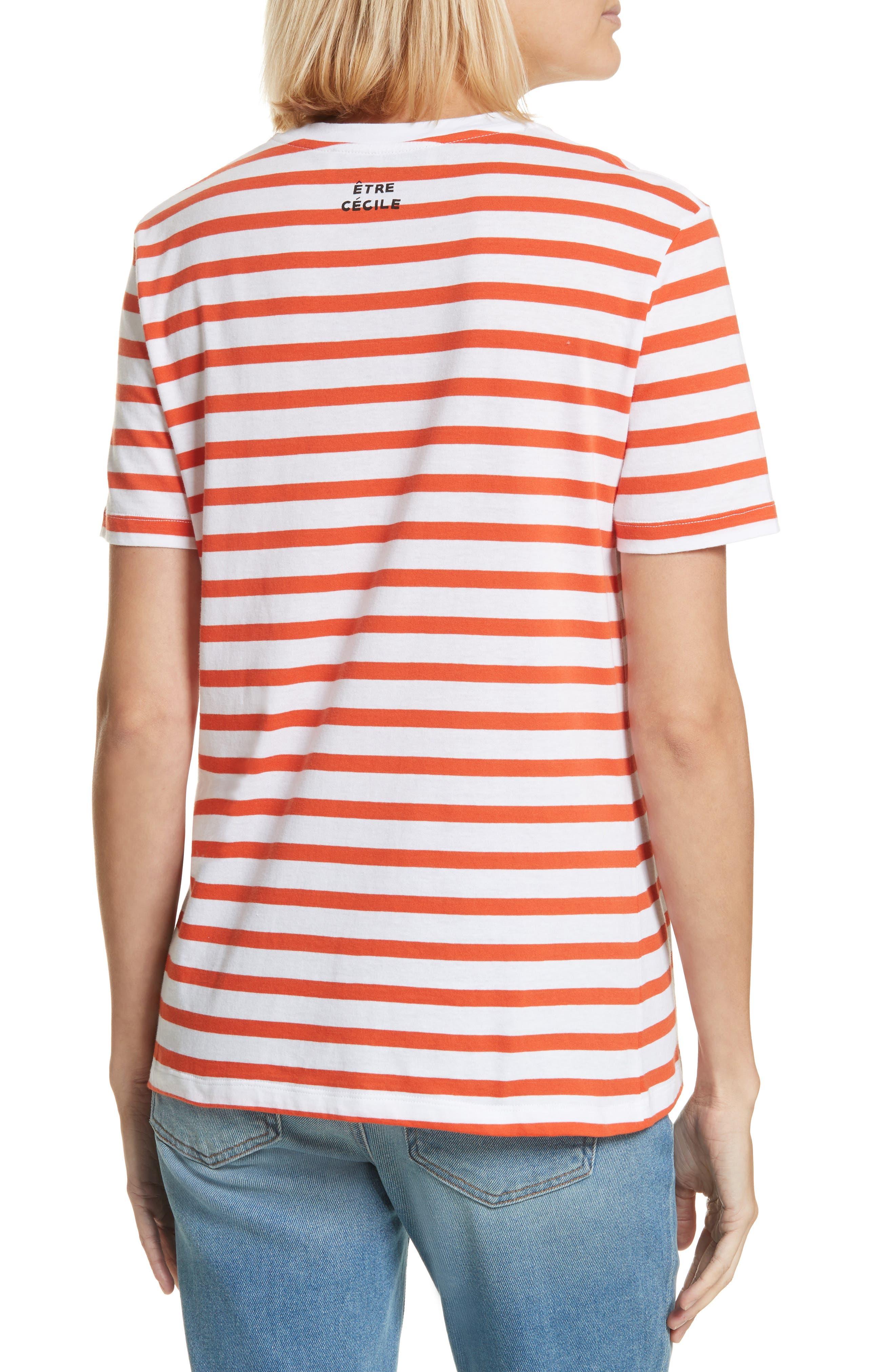 être cécile Déjà Dudé Tee,                             Alternate thumbnail 2, color,                             Tomato Breton Stripe