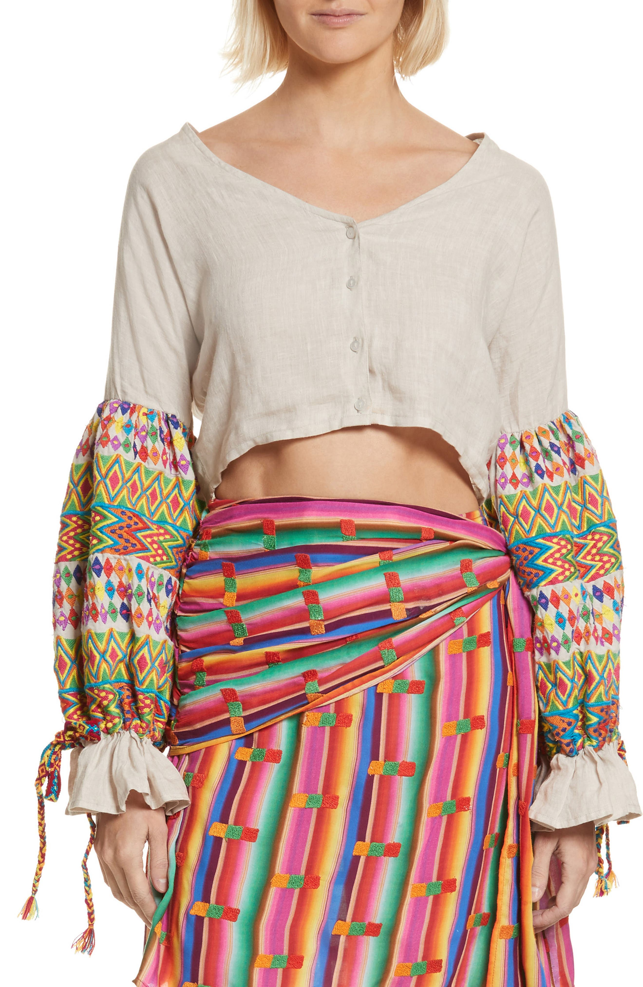 All Things Mochi Christina Embroidered Crop Top