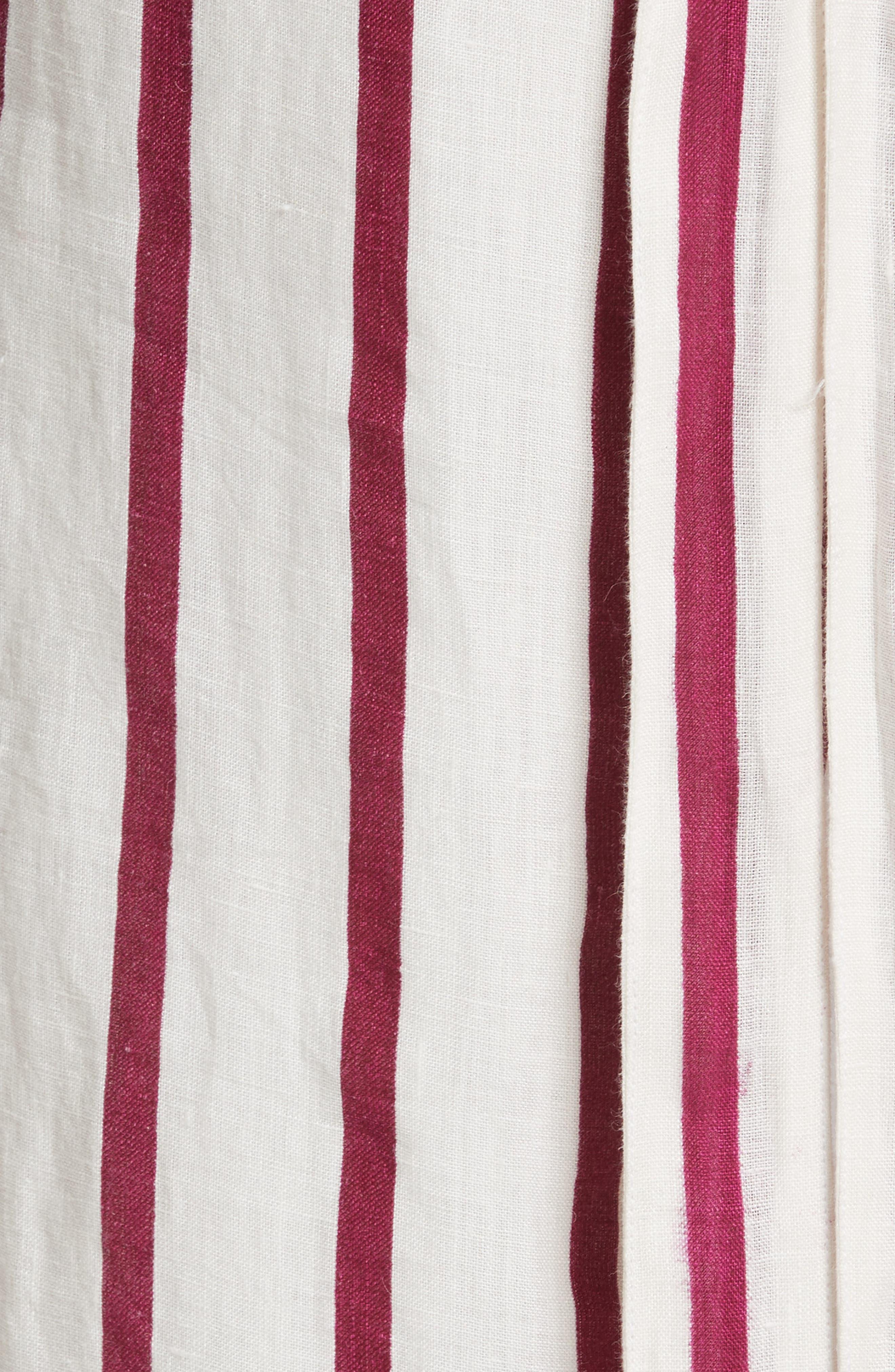 Lisa Stripe Jumpsuit,                             Alternate thumbnail 5, color,                             Off White/ Burgundy