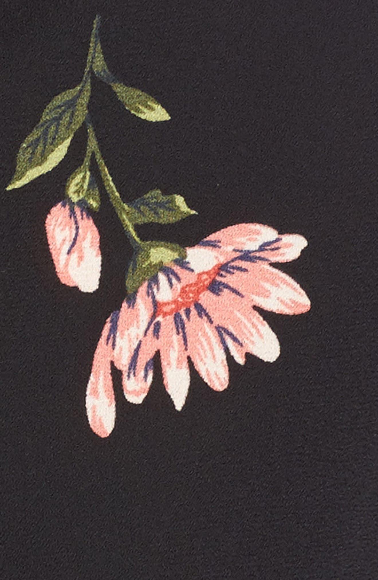 Ruched Crop Top,                             Alternate thumbnail 5, color,                             Black Multi