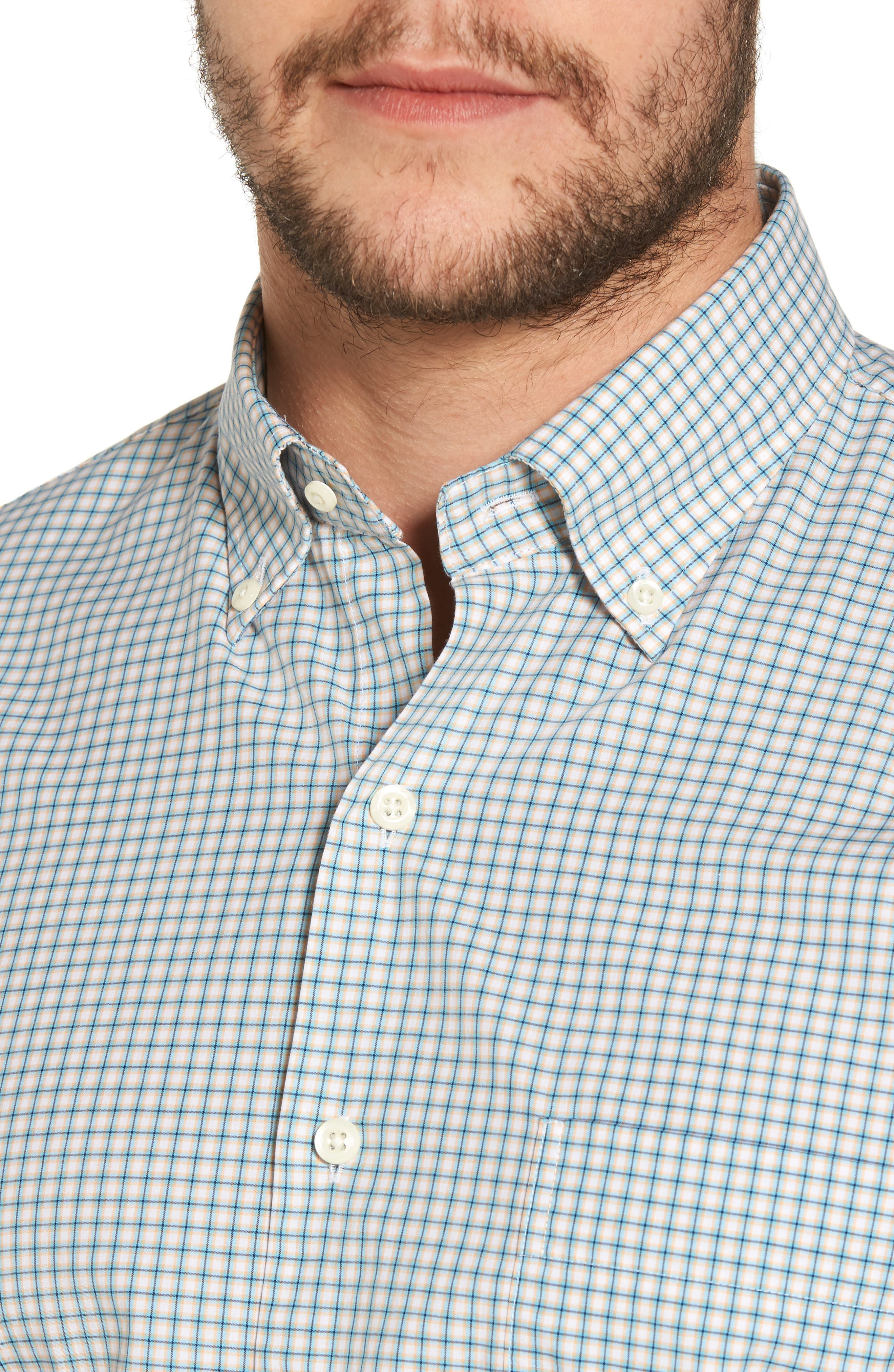 Classic Fit Alligator Check Sport Shirt,                             Alternate thumbnail 4, color,                             Dreamsicle