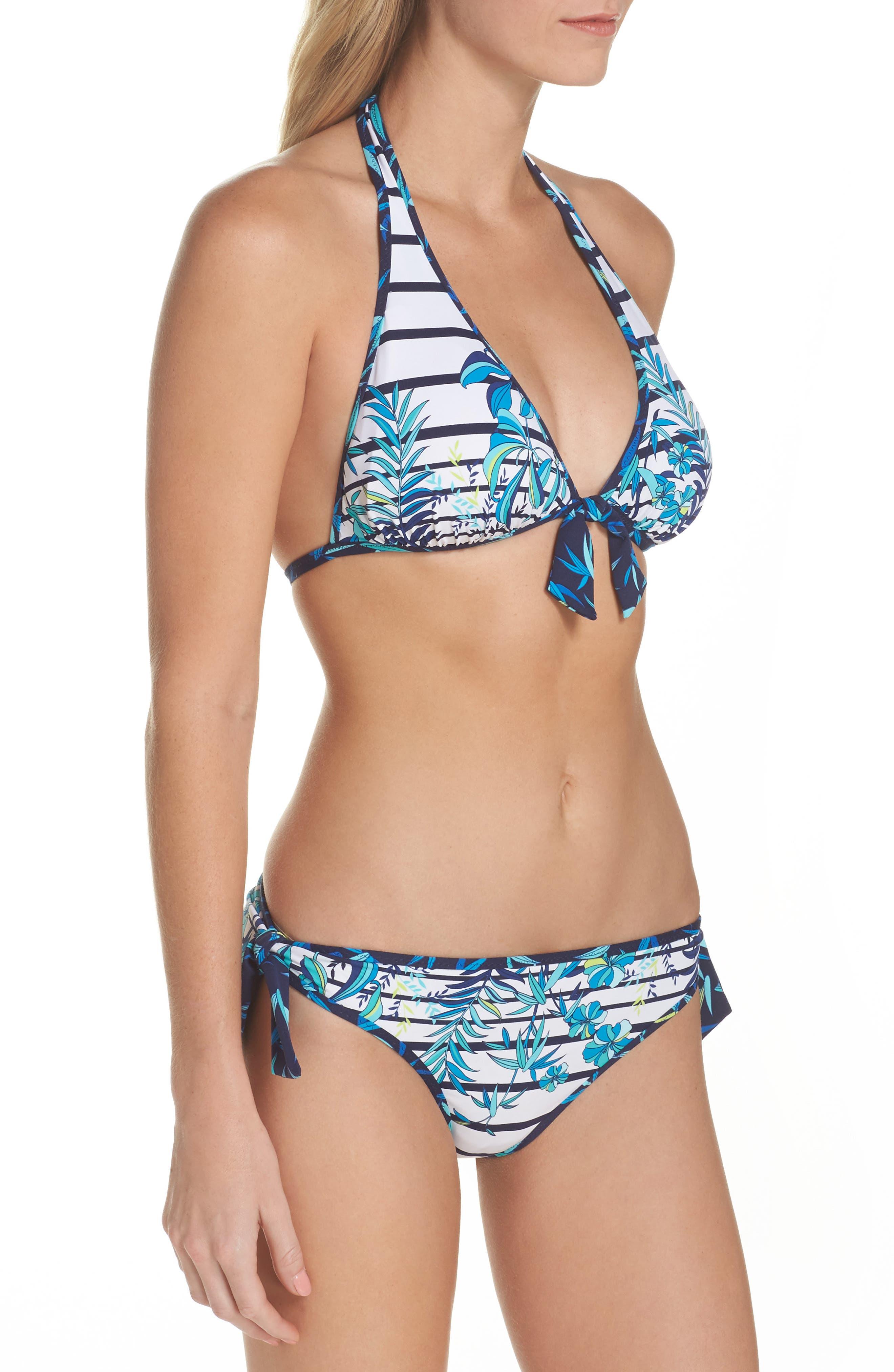 Tropical Swirl Reversible Halter Bikini Top,                             Alternate thumbnail 7, color,                             Blue/ White