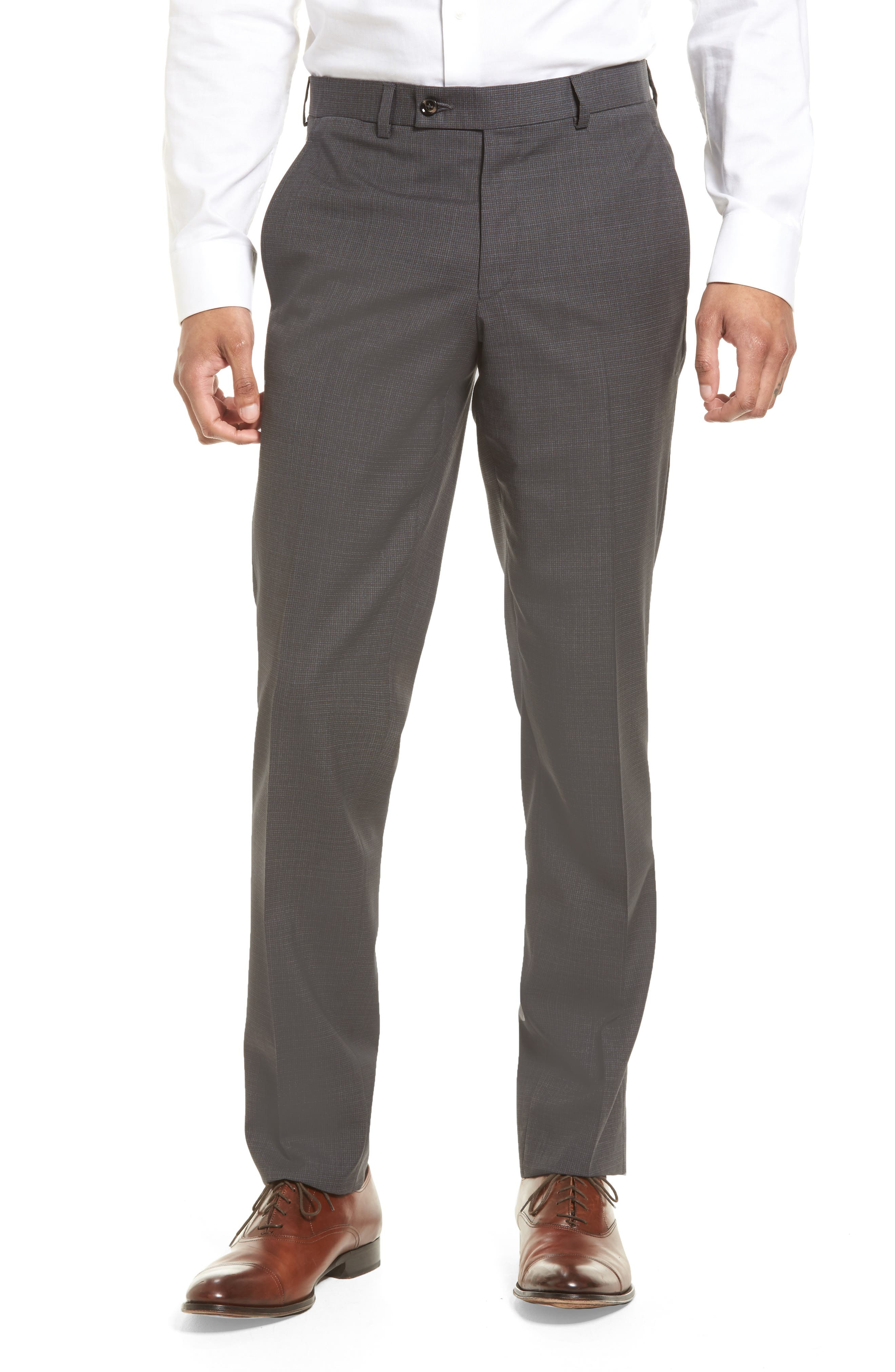 Jefferson Flat Front Wool Trousers,                         Main,                         color, Grey