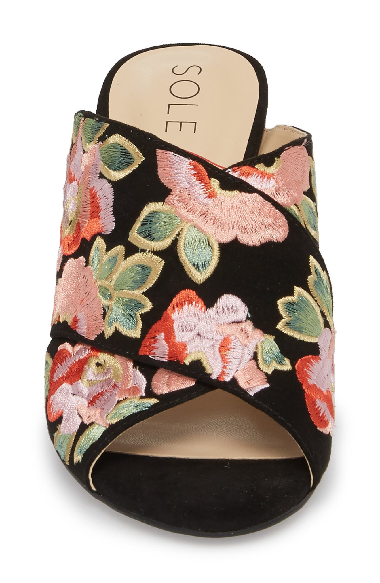 Luella Flower Embroidered Slide,                             Alternate thumbnail 4, color,                             Black/ Coral Multi Embroidery