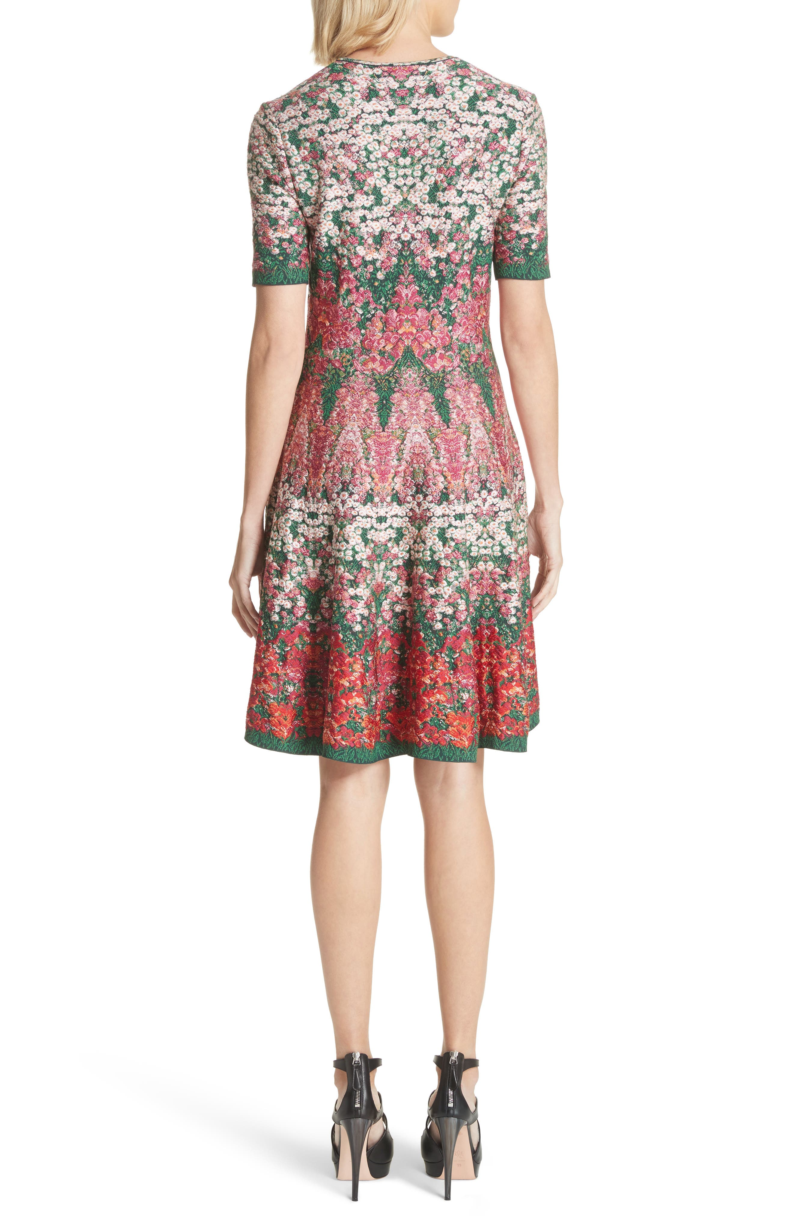 Floral Jacquard Knit Fit & Flare Dress,                             Alternate thumbnail 2, color,                             Multicolor