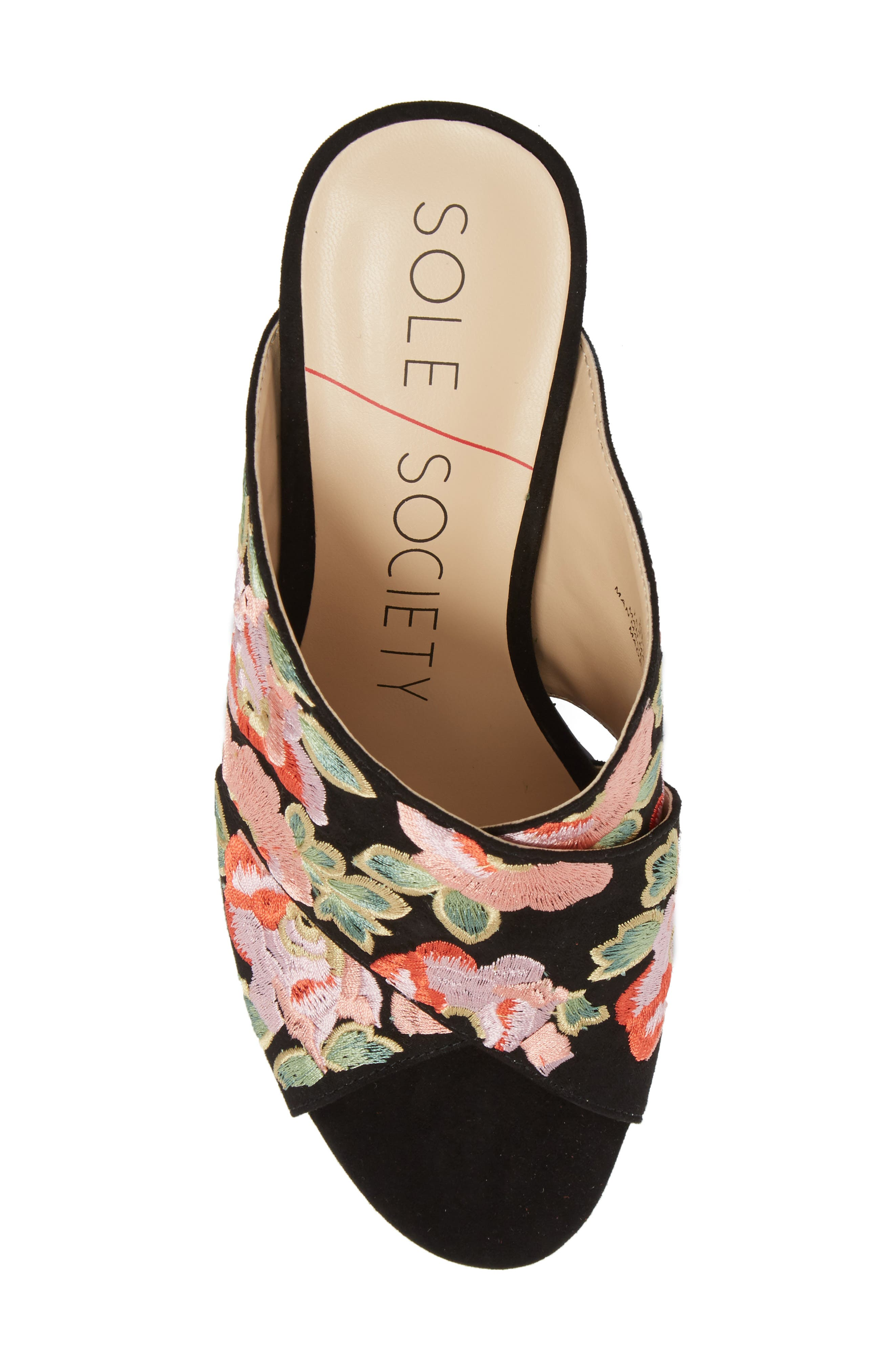 Luella Flower Embroidered Slide,                             Alternate thumbnail 5, color,                             Black/ Coral Multi Embroidery