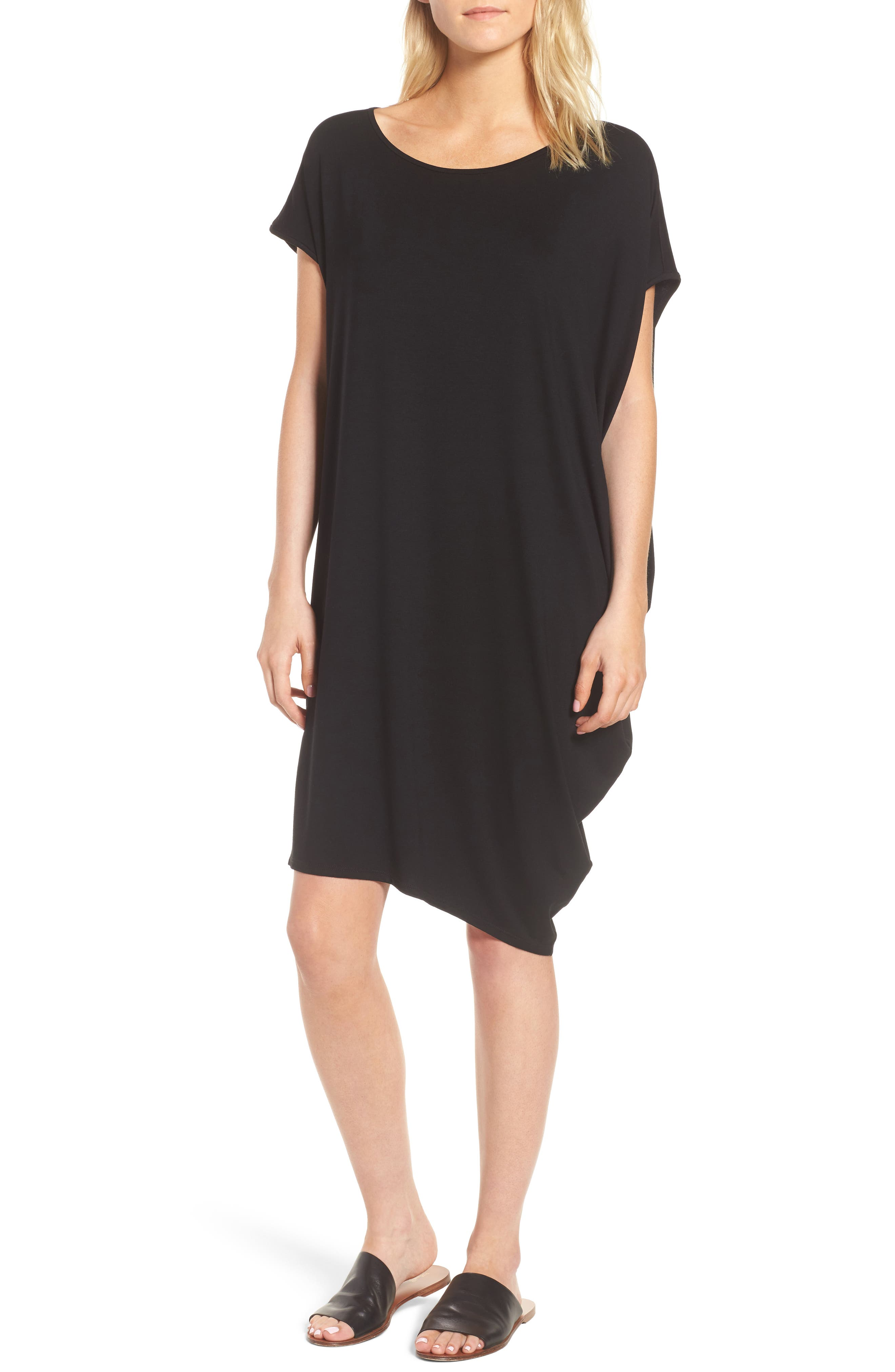 Asymmetrical Jersey Shift Dress,                             Main thumbnail 1, color,                             Black
