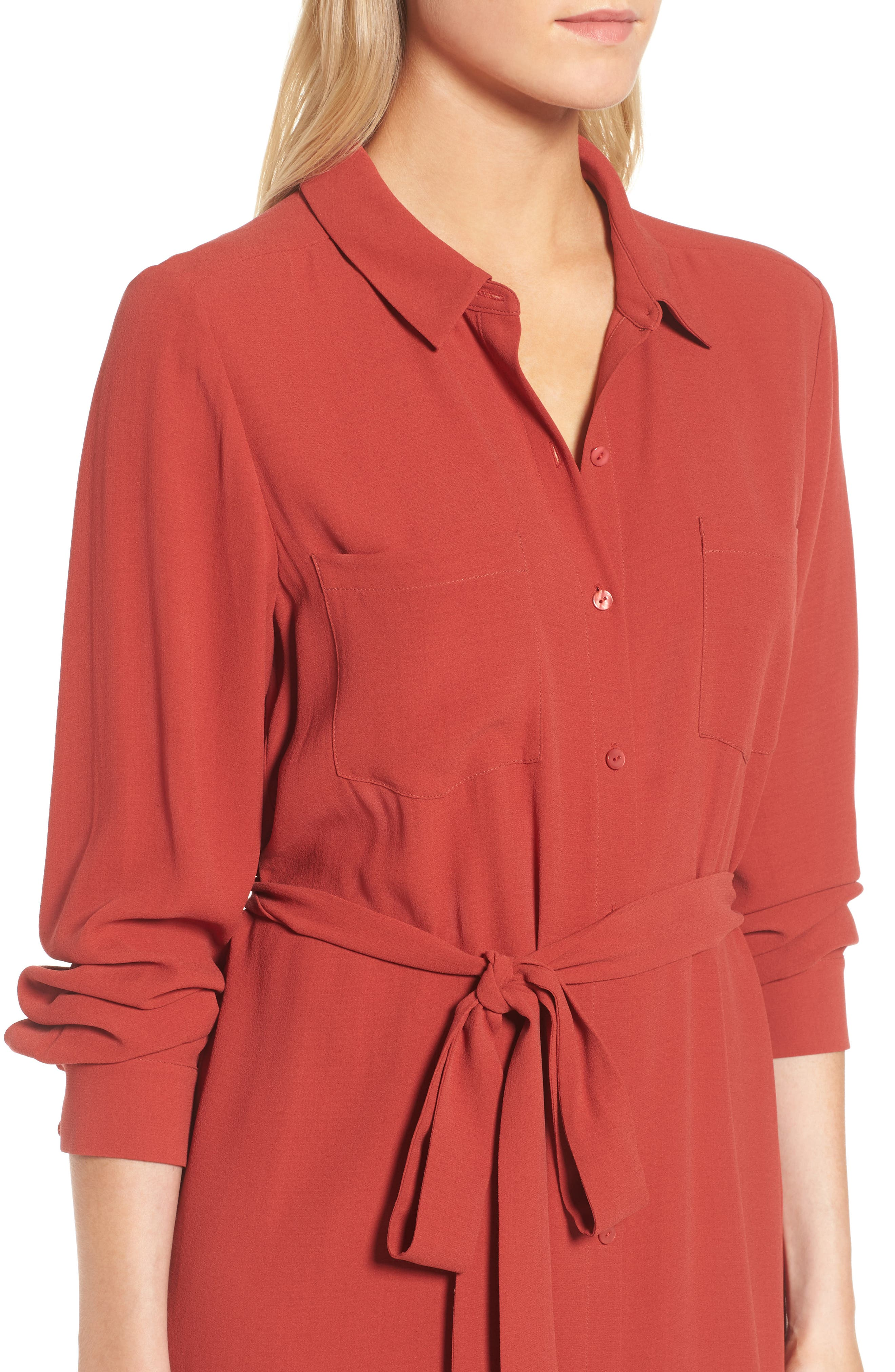 Silk Georgette Crepe Shirtdress,                             Alternate thumbnail 4, color,                             Serrano