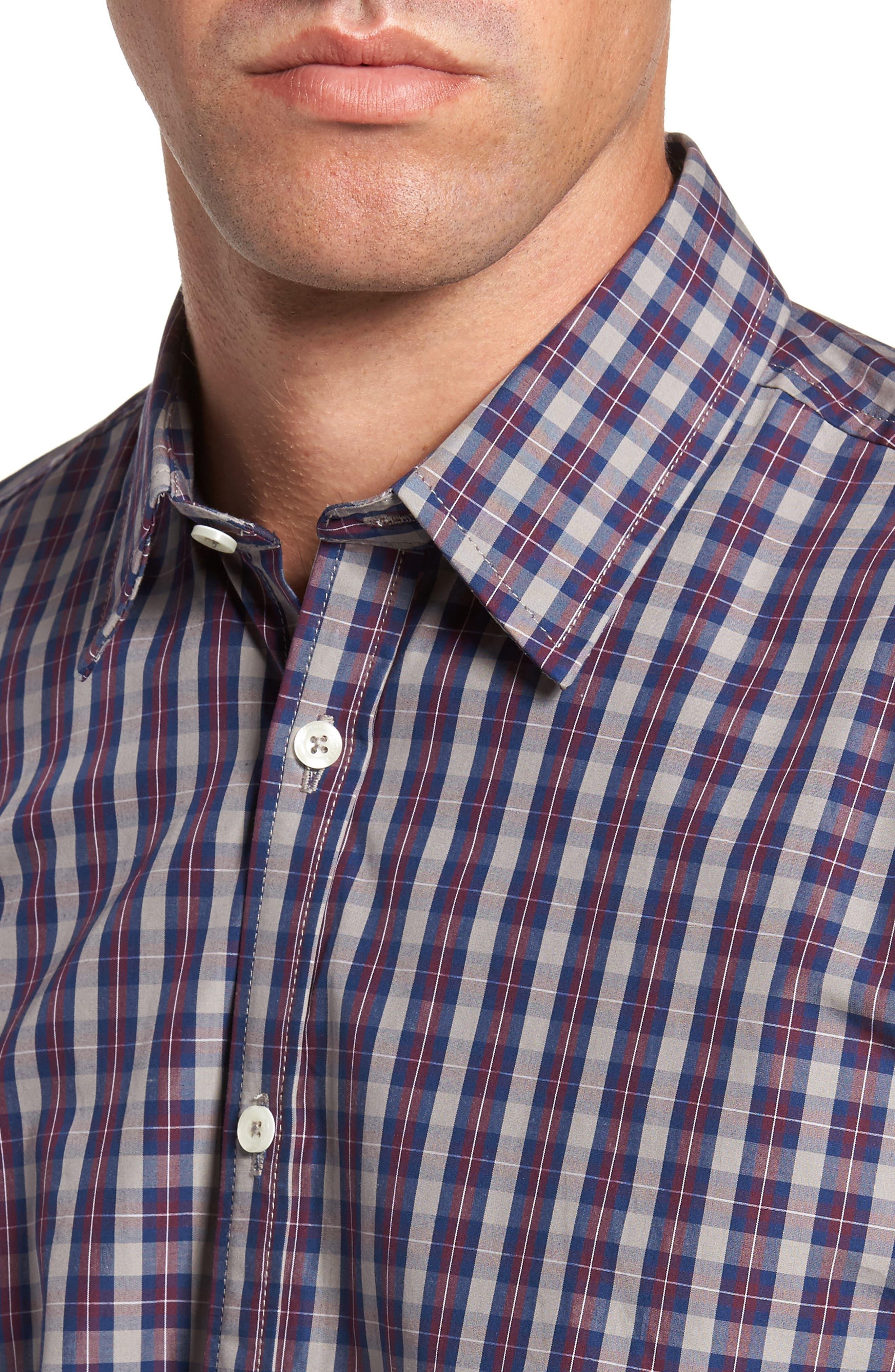 Regular Fit Plaid Sport Shirt,                             Alternate thumbnail 4, color,                             Burgundy
