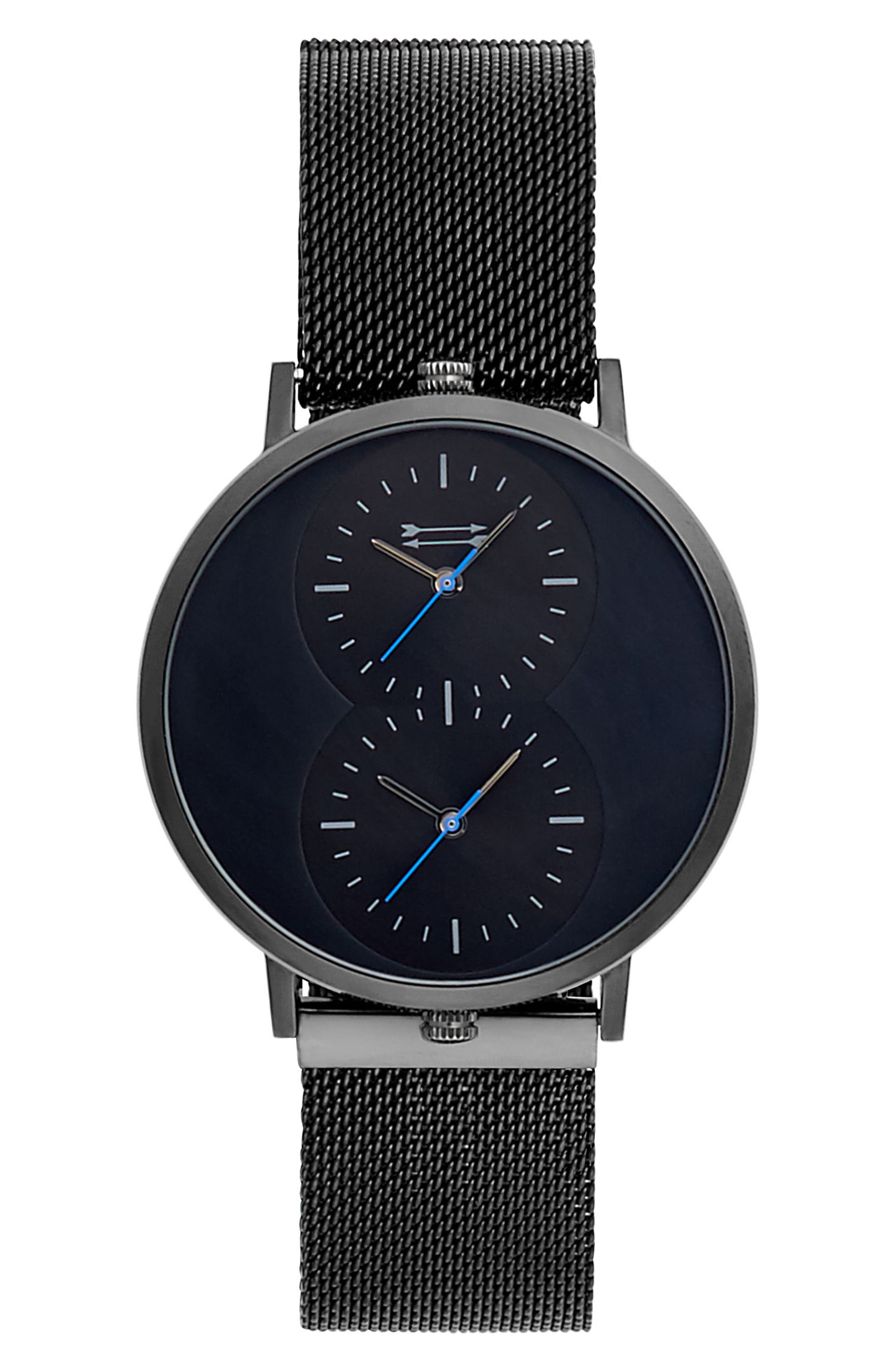Griffith Mesh Strap Watch, 43mm,                             Main thumbnail 1, color,                             Black