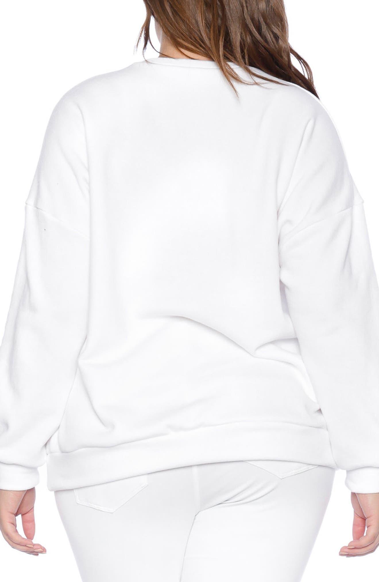 I Am the One Oversize Sweatshirt,                             Alternate thumbnail 2, color,                             White