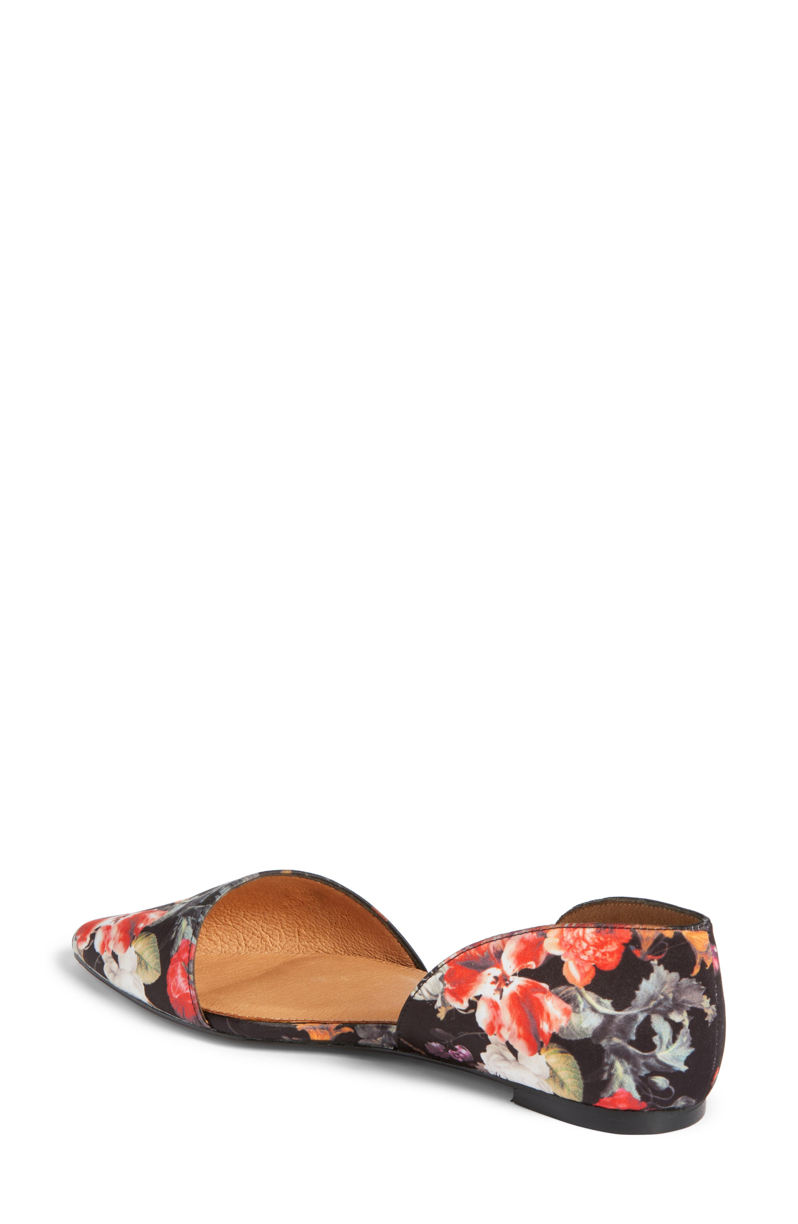 Maisy d'Orsay Flat,                             Alternate thumbnail 3, color,                             Black/ Red Floral Fabric