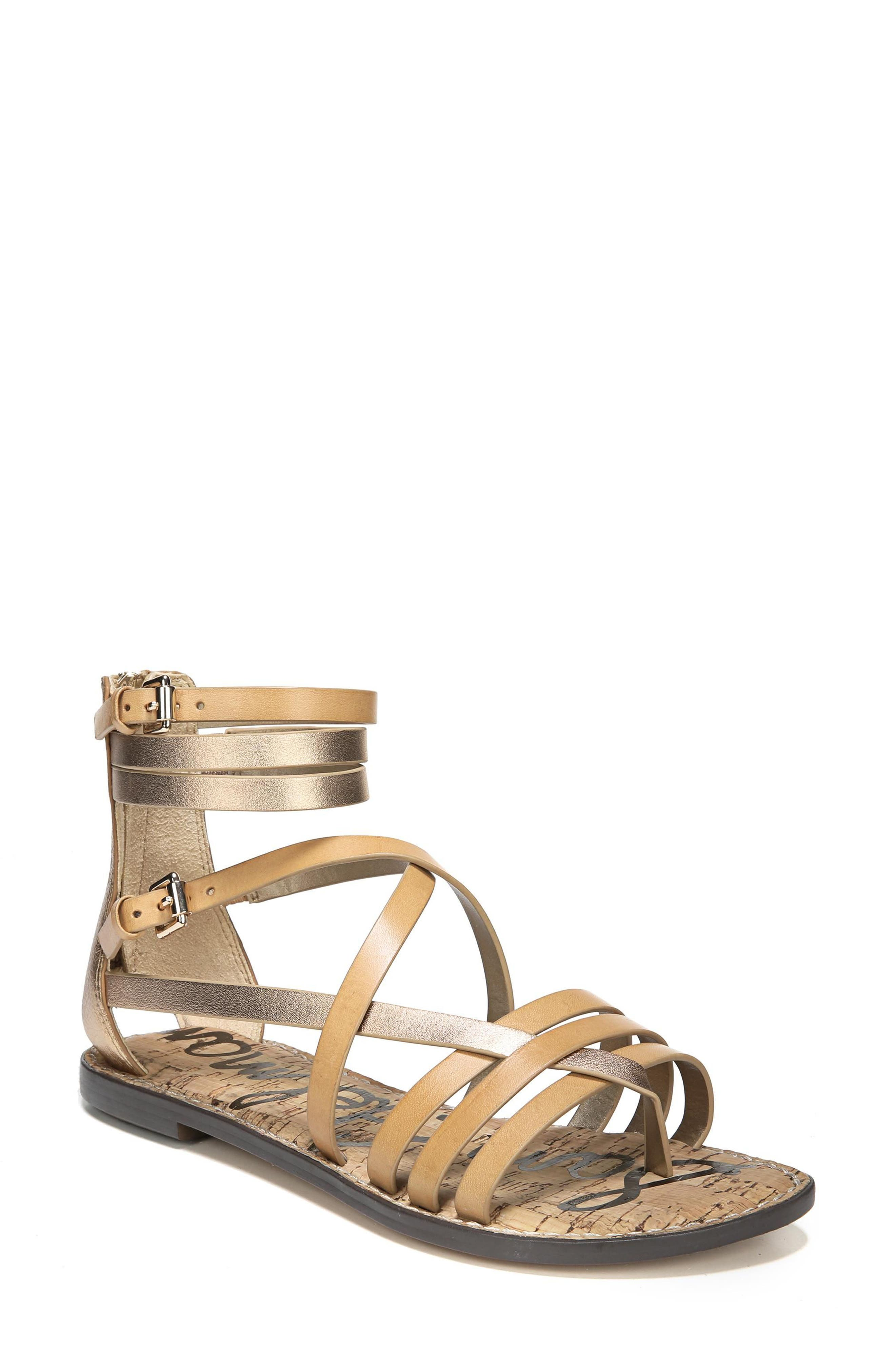 Ganesa Strappy Sandal,                             Main thumbnail 1, color,                             Golden Caramel Leather