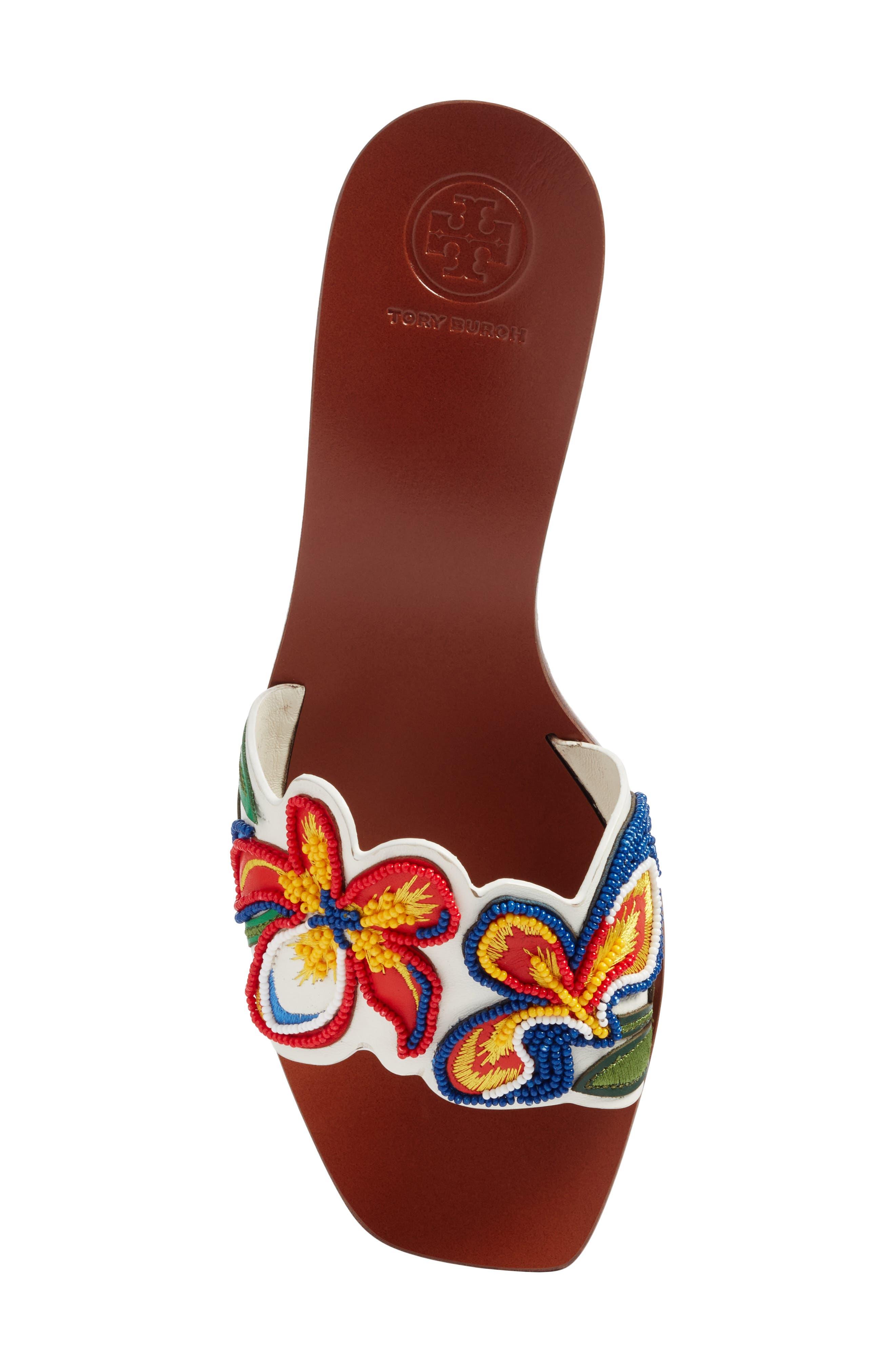 Bianca Floral Embellished Slide Sandal,                             Alternate thumbnail 5, color,                             Perfect Ivory/ Multi Color