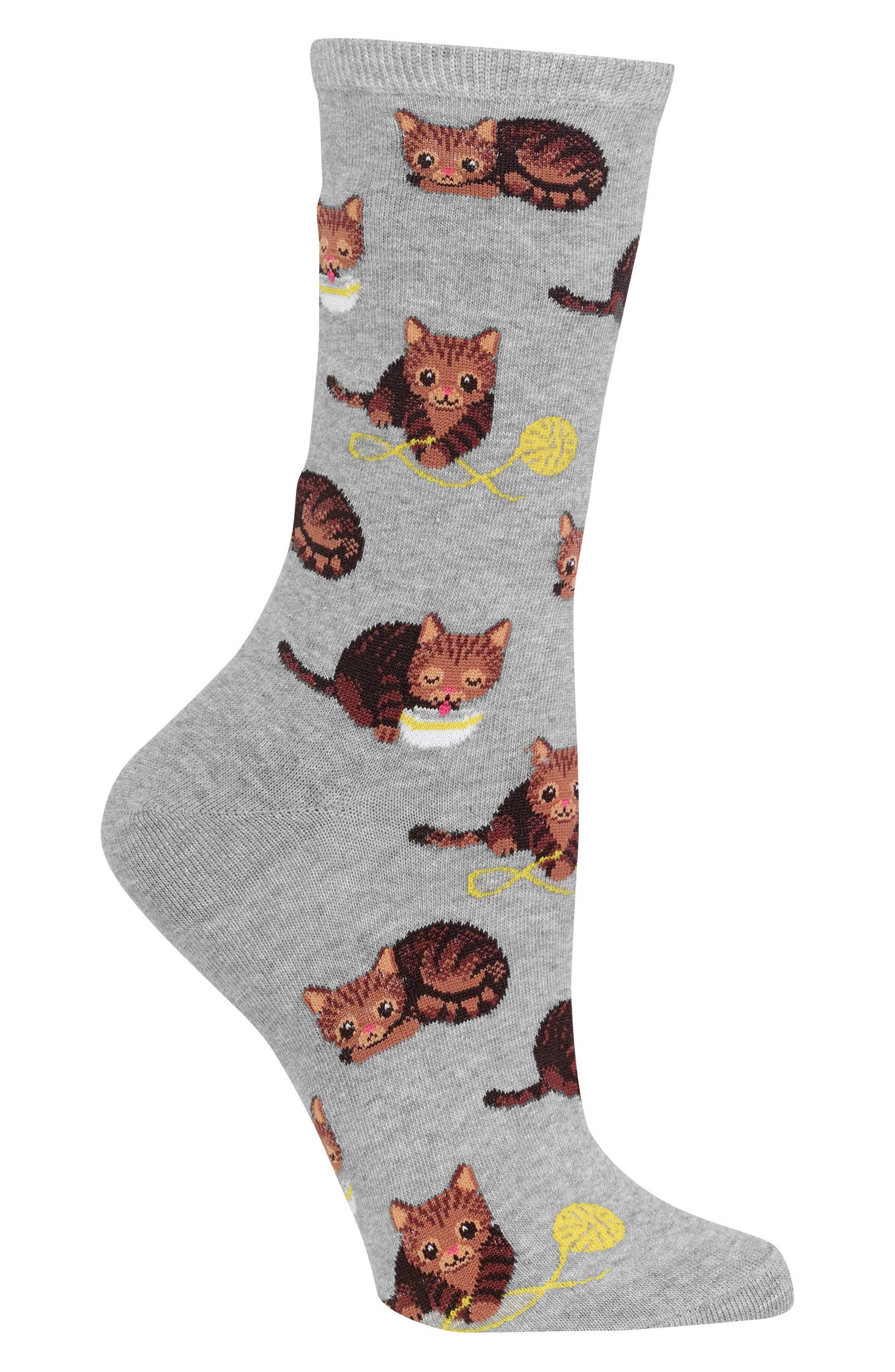 Cat & Yarn Crew Socks,                             Alternate thumbnail 2, color,                             Grey Heather