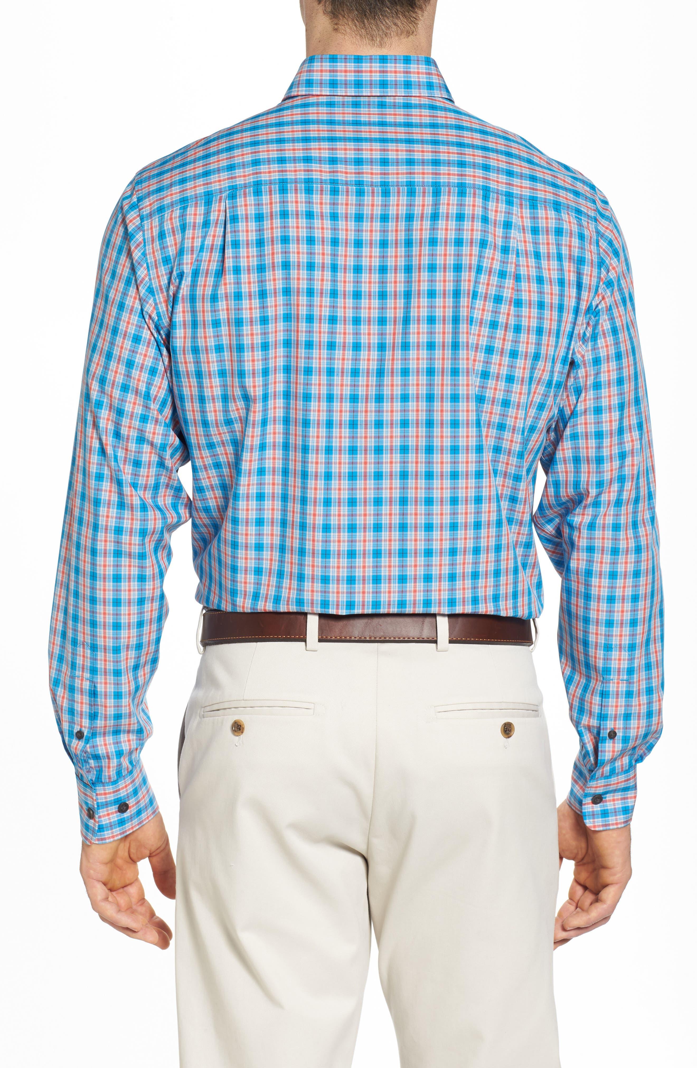 Landon Classic Fit Non-Iron Plaid Sport Shirt,                             Alternate thumbnail 2, color,                             Poolside