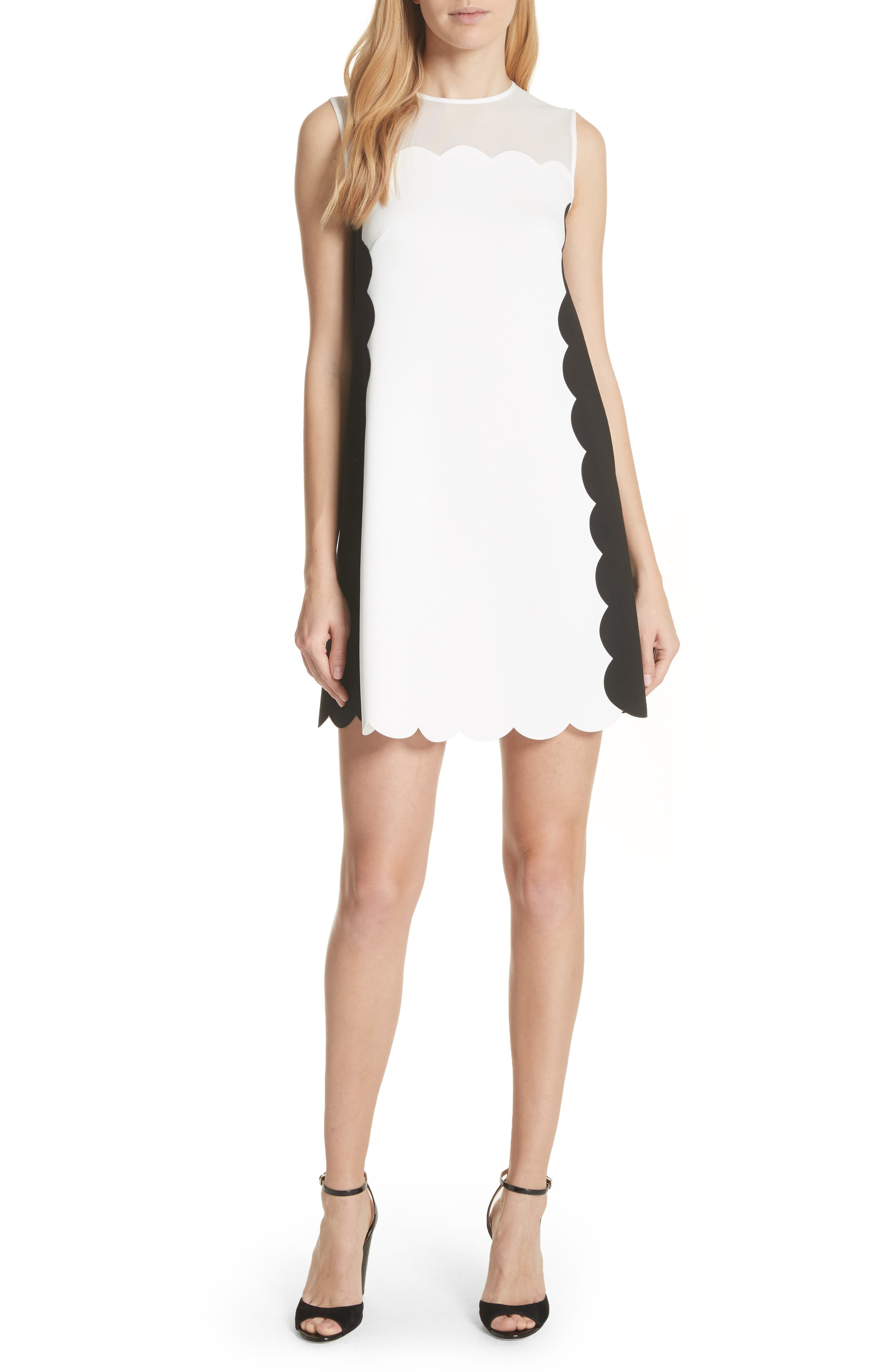 Contrast Scallop Overlay A-Line Dress,                             Main thumbnail 1, color,                             Natural