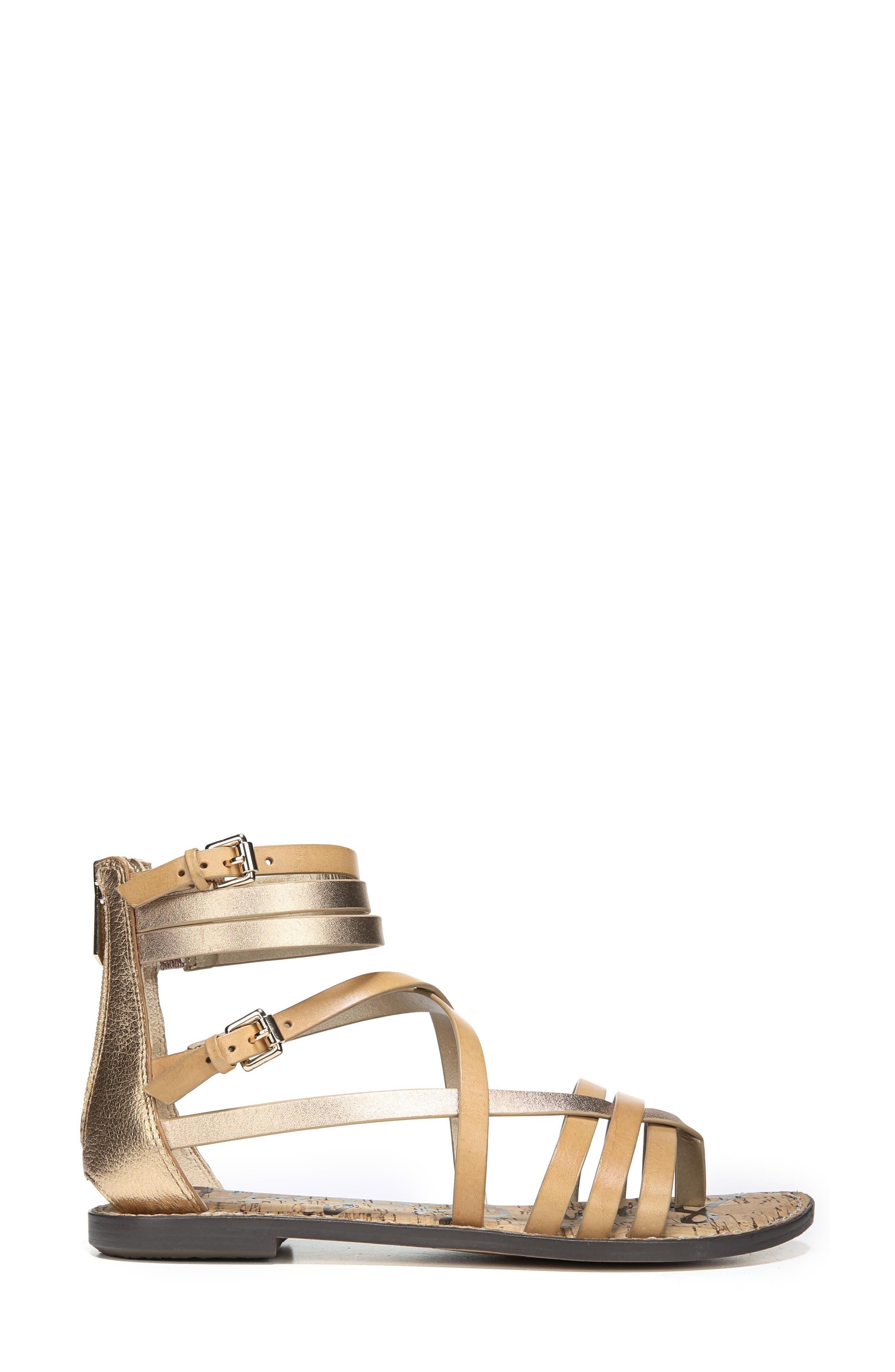 Ganesa Strappy Sandal,                             Alternate thumbnail 3, color,                             Golden Caramel Leather