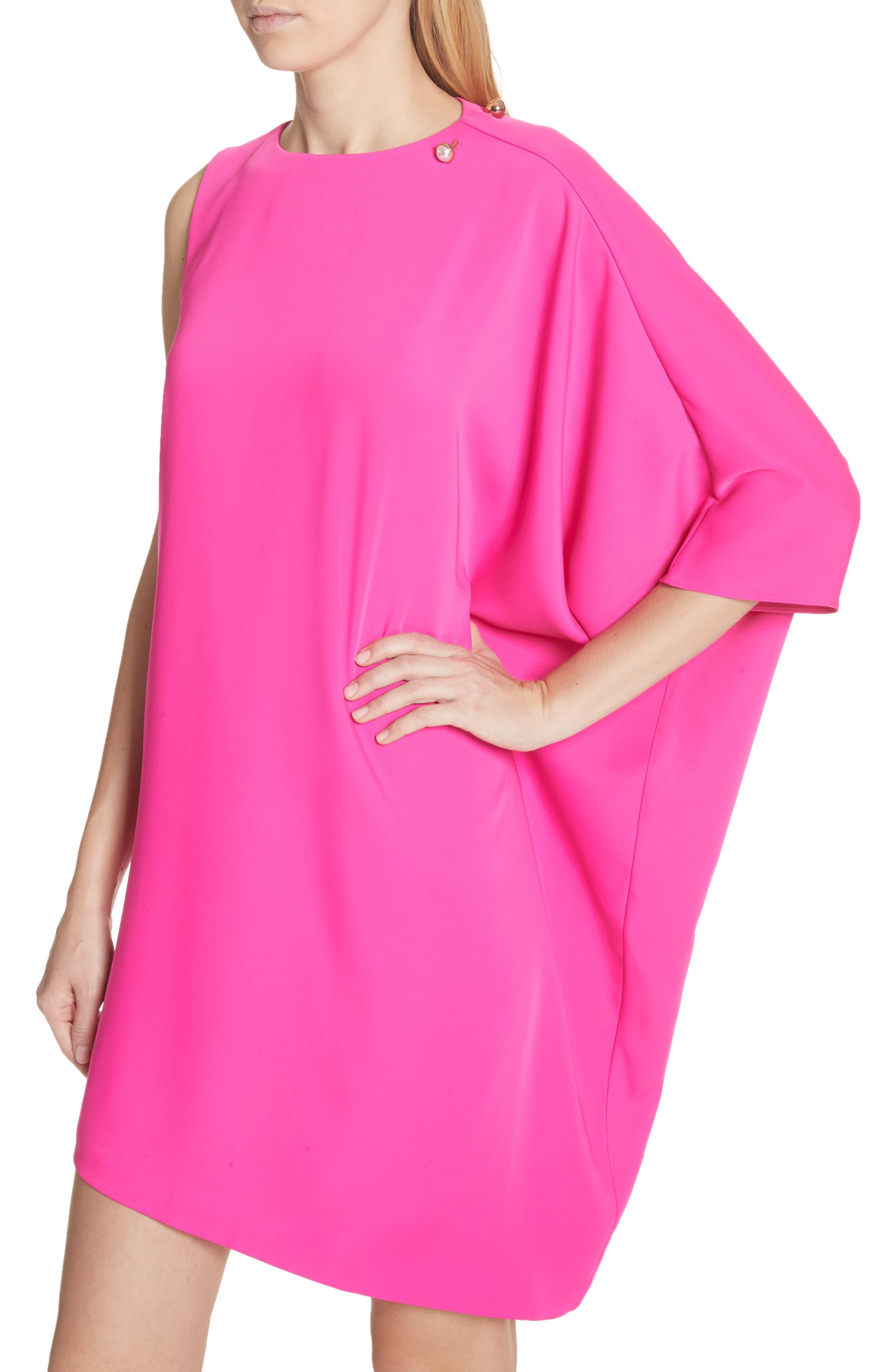 Oversize Drape Front Dress,                             Alternate thumbnail 4, color,                             Fuchsia