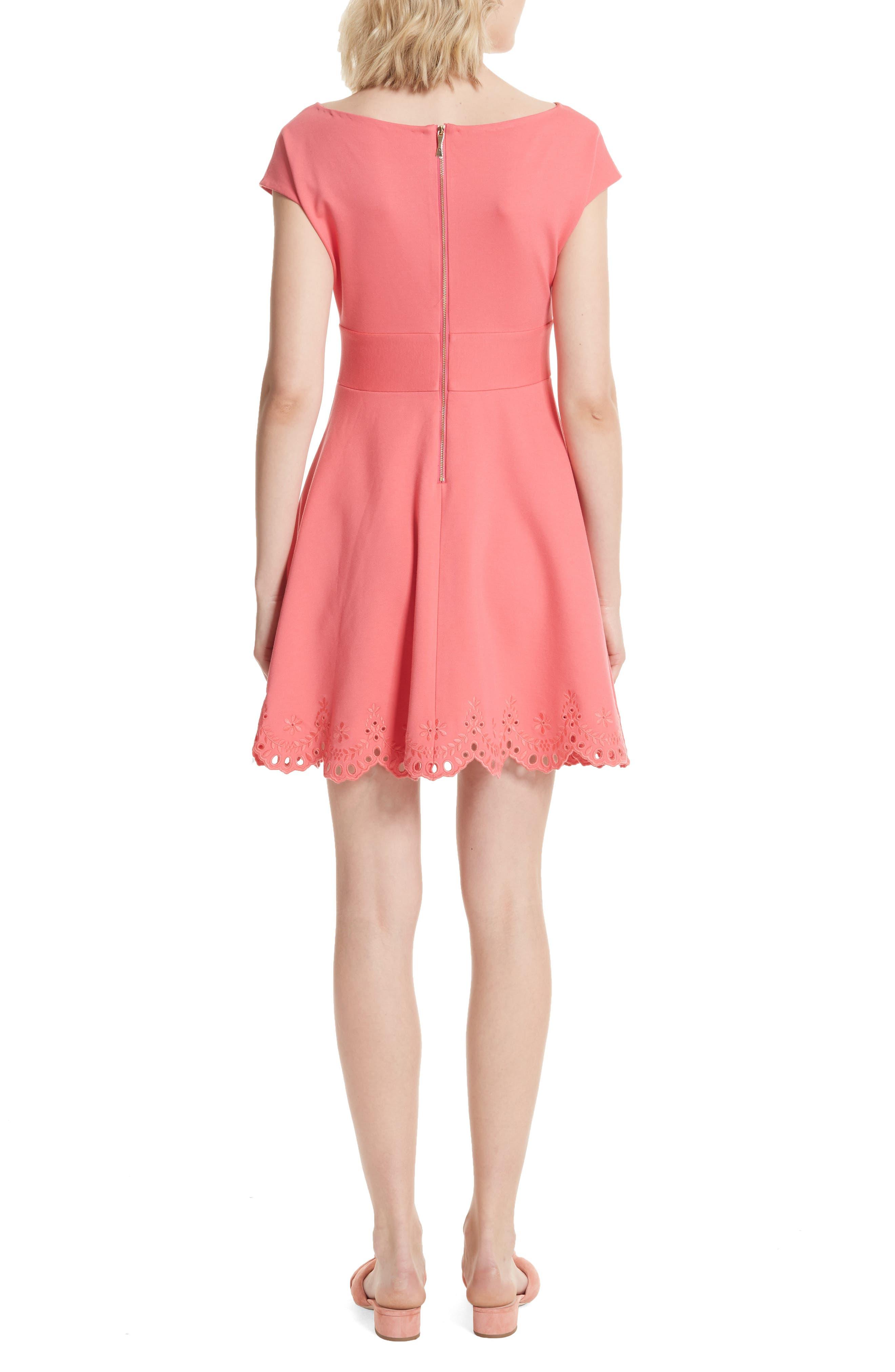 fiorella cutwork hem dress,                             Alternate thumbnail 2, color,                             Peach Sherbet