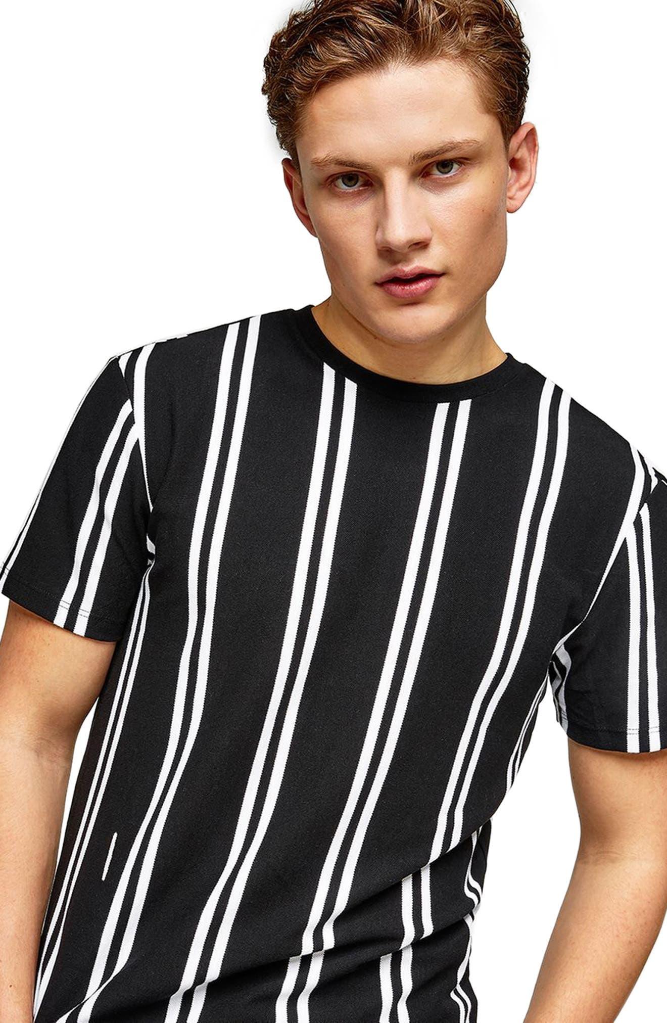 Stripe Piqué T-Shirt,                         Main,                         color, Black Multi