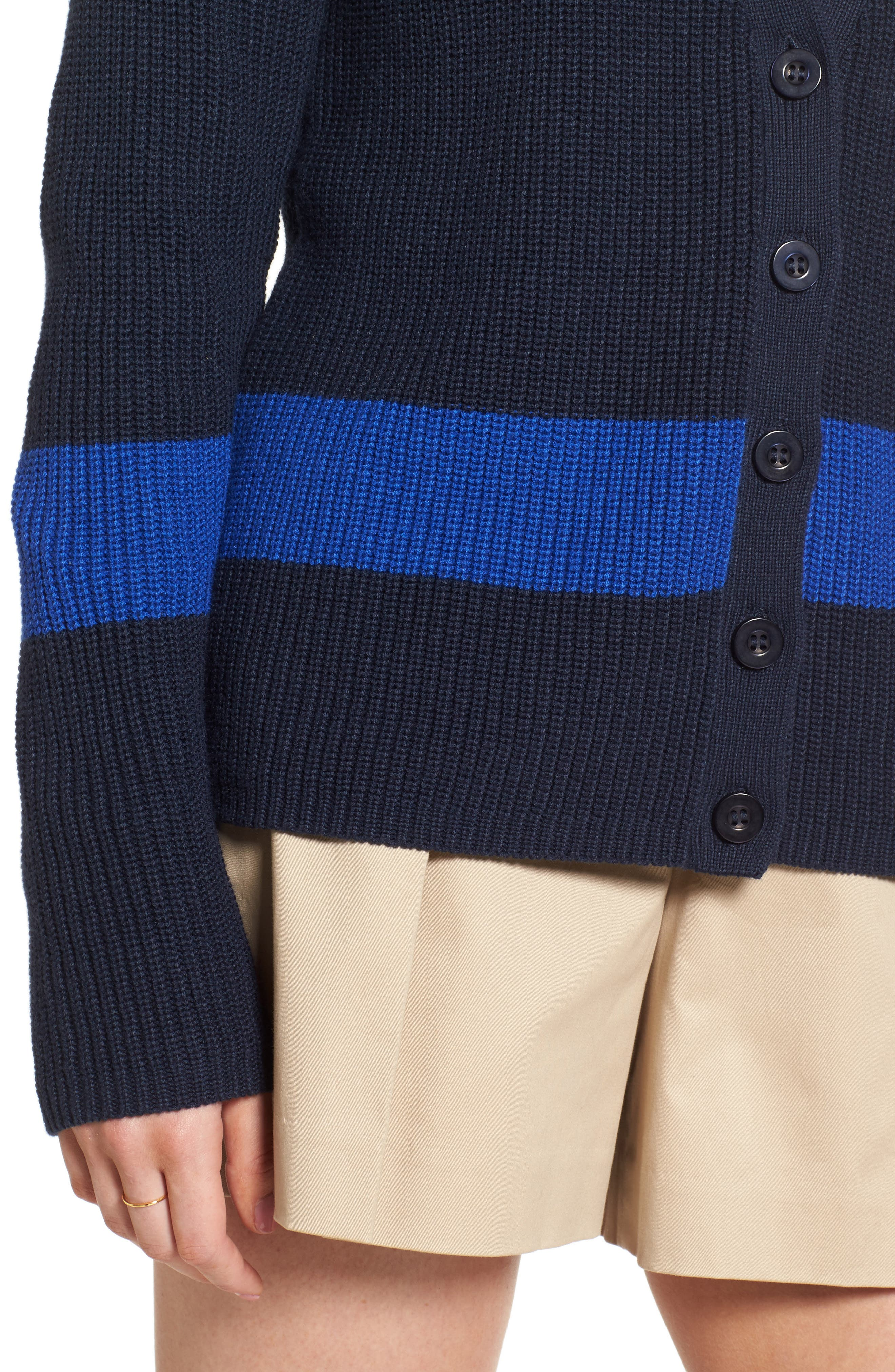 Shaker Knit Cardigan,                             Alternate thumbnail 4, color,                             Navy- Blue Colorblock