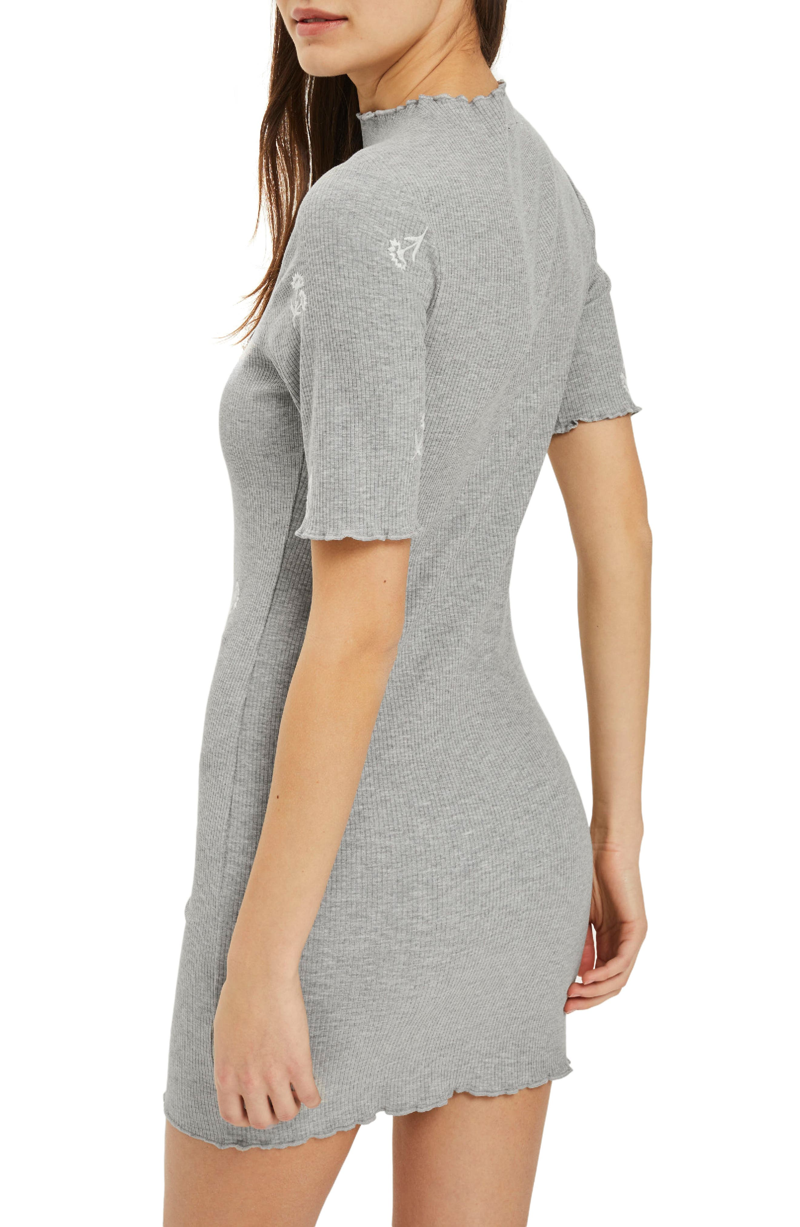 Embroidered Ribbed Body-Con Dress,                             Alternate thumbnail 2, color,                             Grey Marl