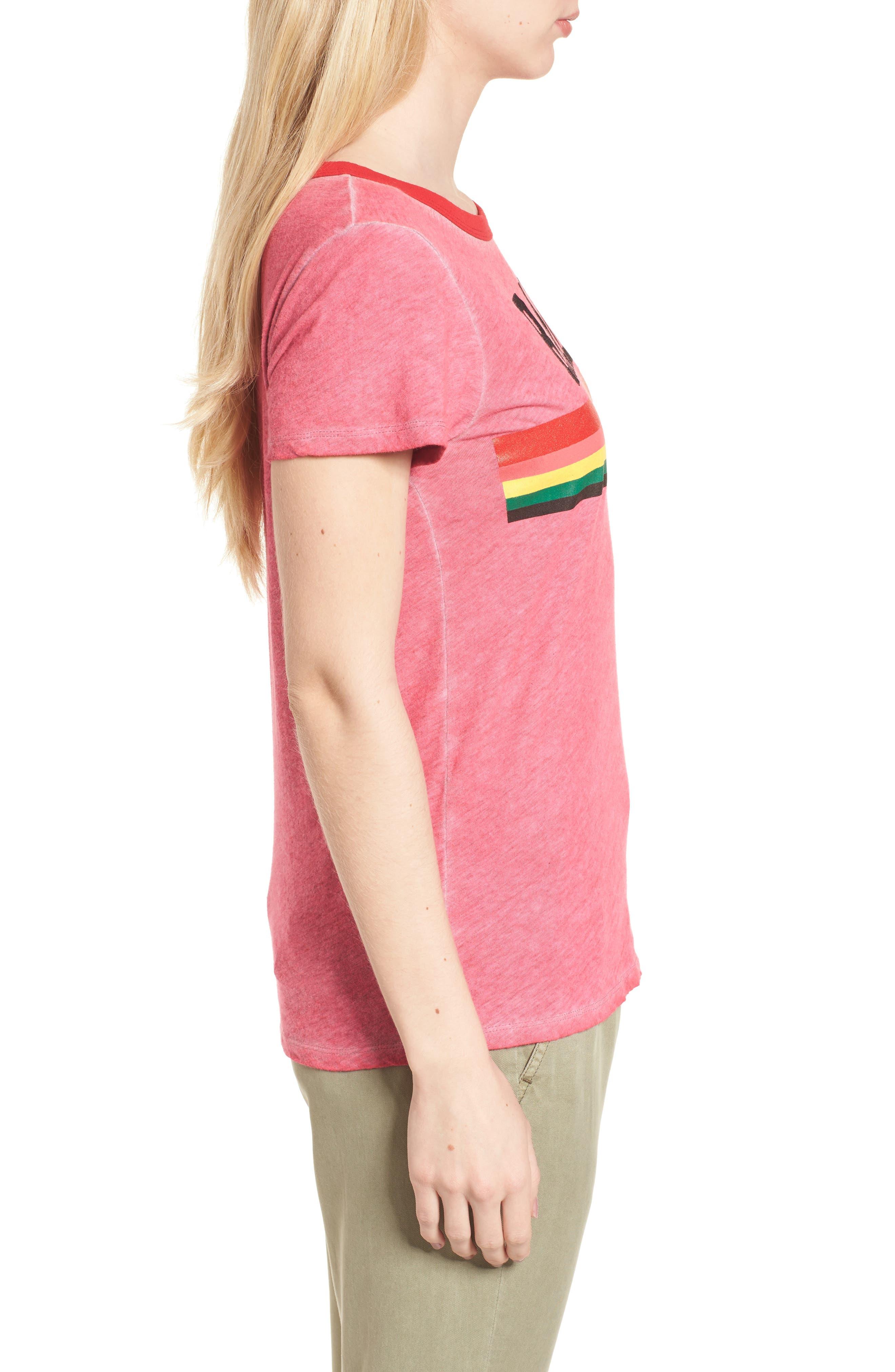 Rad Rainbow Ringer Tee,                             Alternate thumbnail 3, color,                             Neon Pink