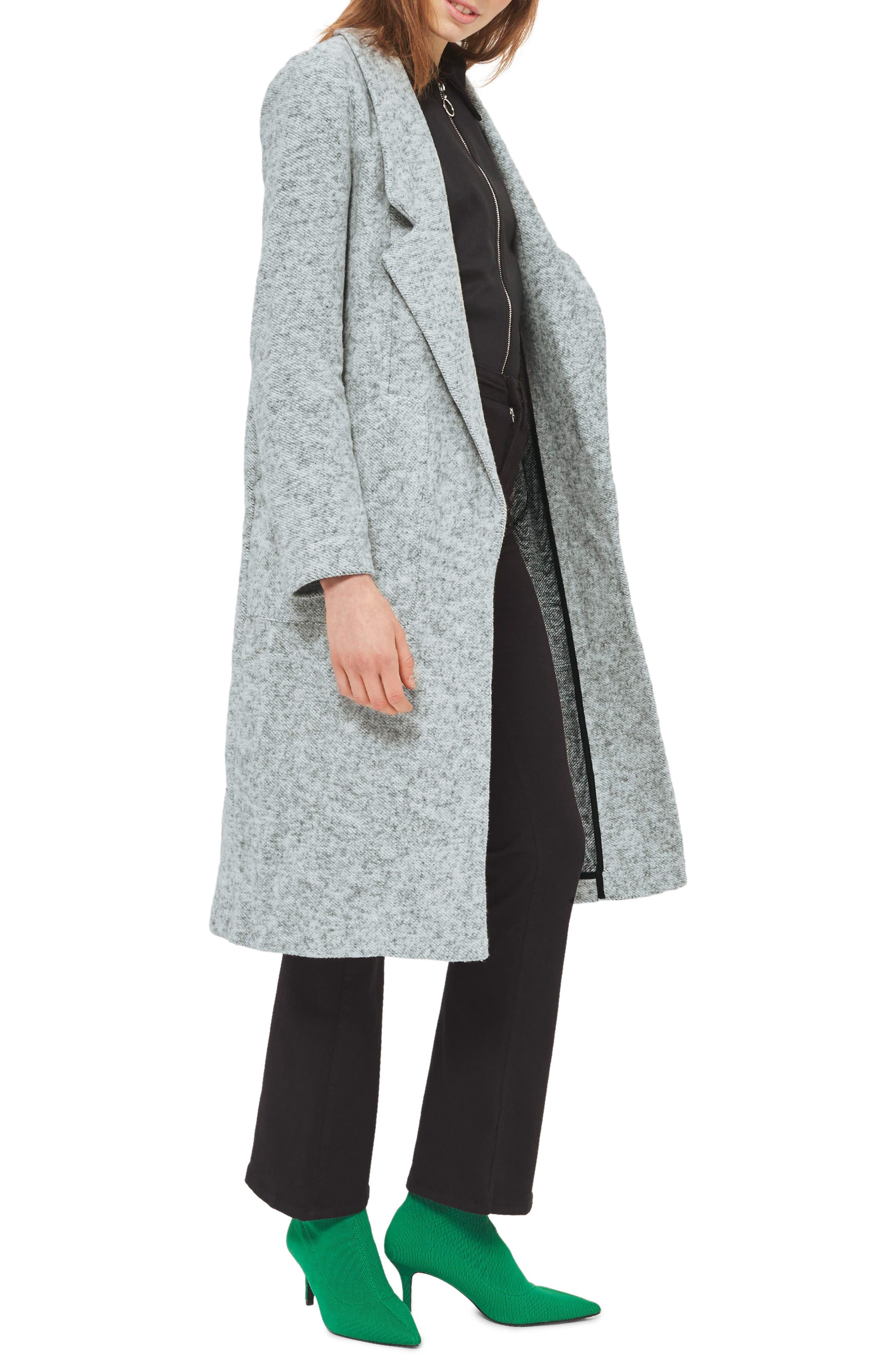 Topshop Brushback Jersey Coat