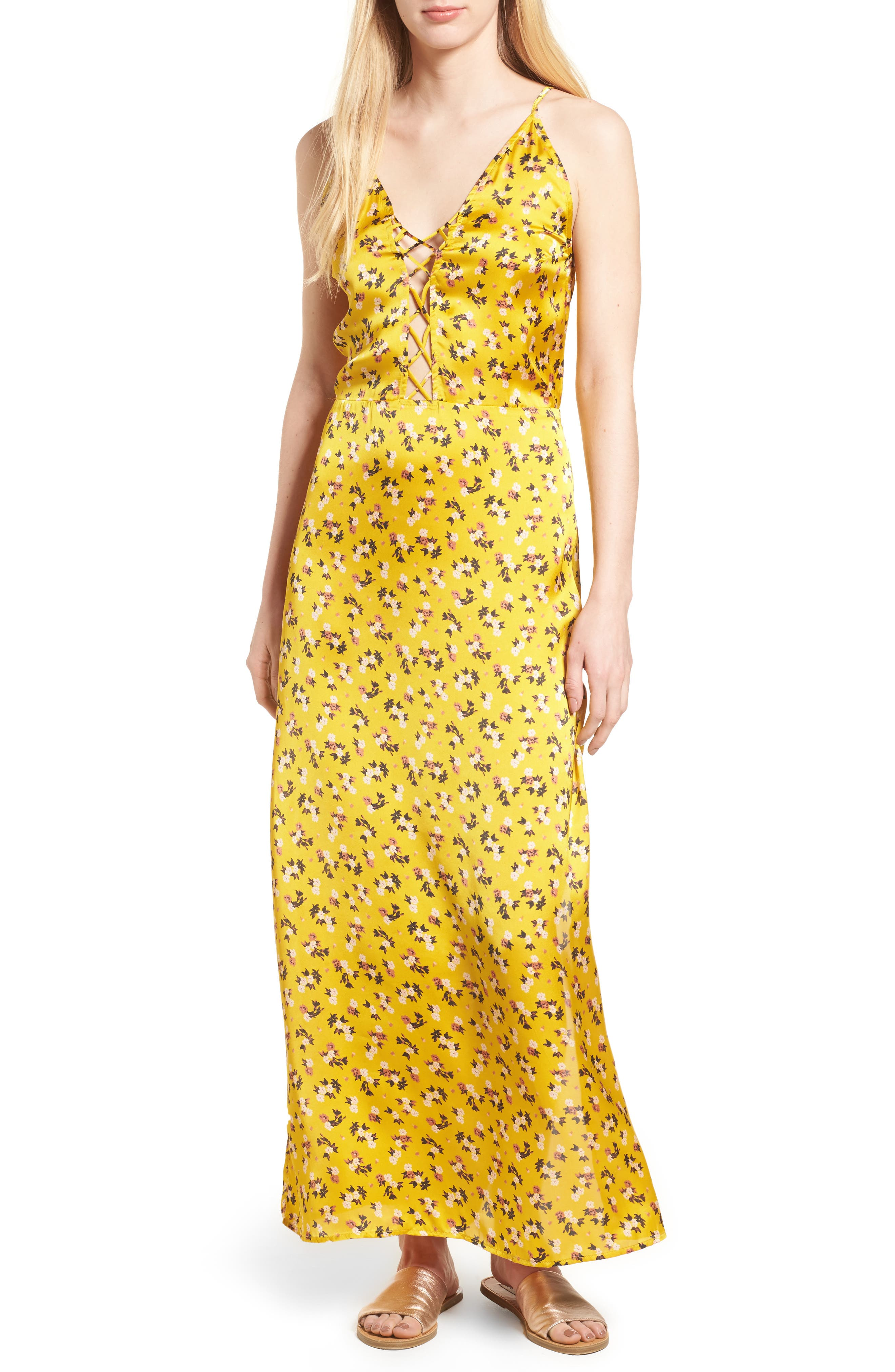 Floral Satin Maxi Dress,                             Main thumbnail 1, color,                             Burnt Gold