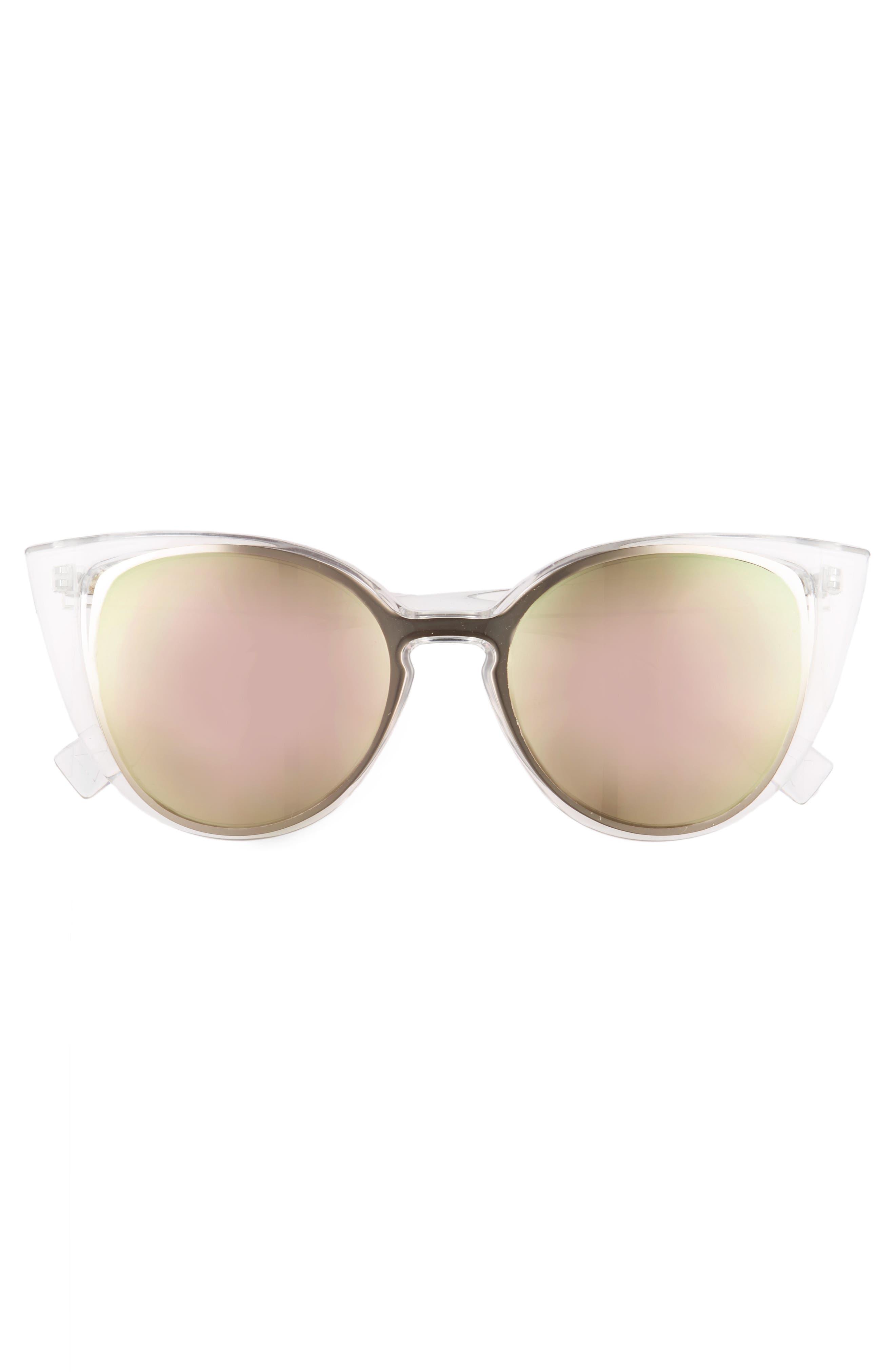 56mm Cutout Cat Eye Sunglasses,                             Alternate thumbnail 3, color,                             Clear/ Multi