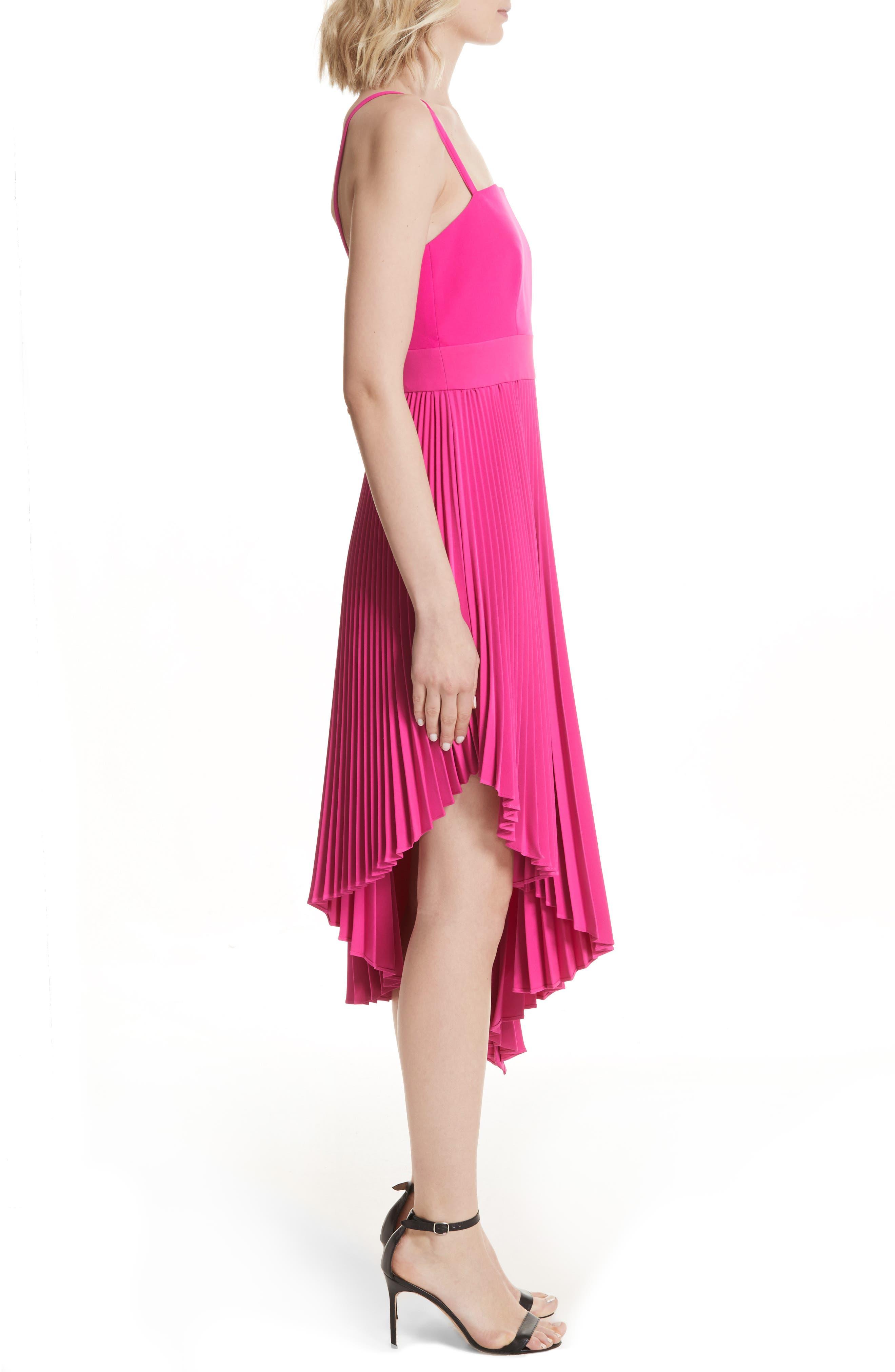 Eliza Pleated Asymmetrical Sundress,                             Alternate thumbnail 3, color,                             Raspberry