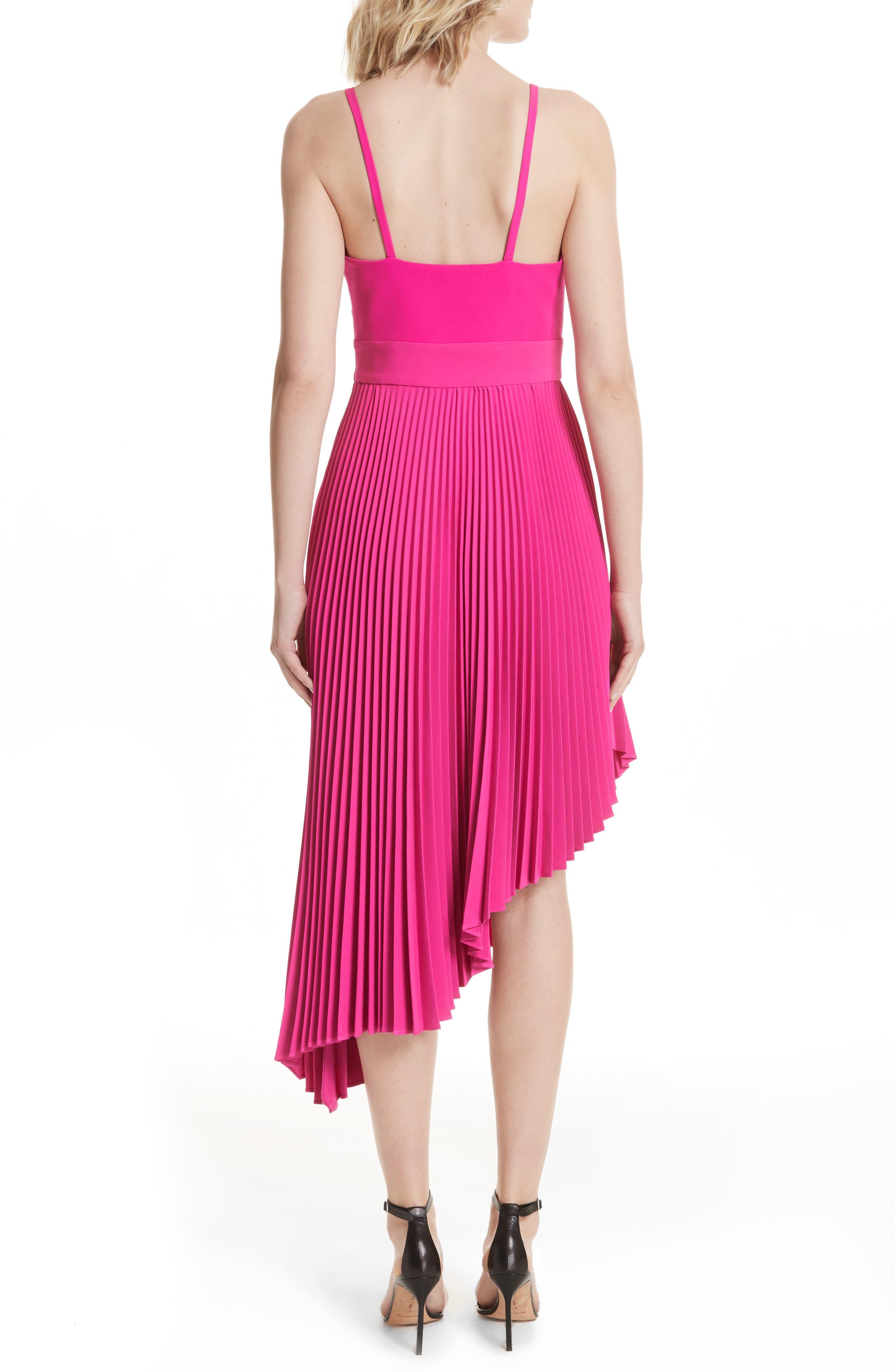 Eliza Pleated Asymmetrical Sundress,                             Alternate thumbnail 2, color,                             Raspberry