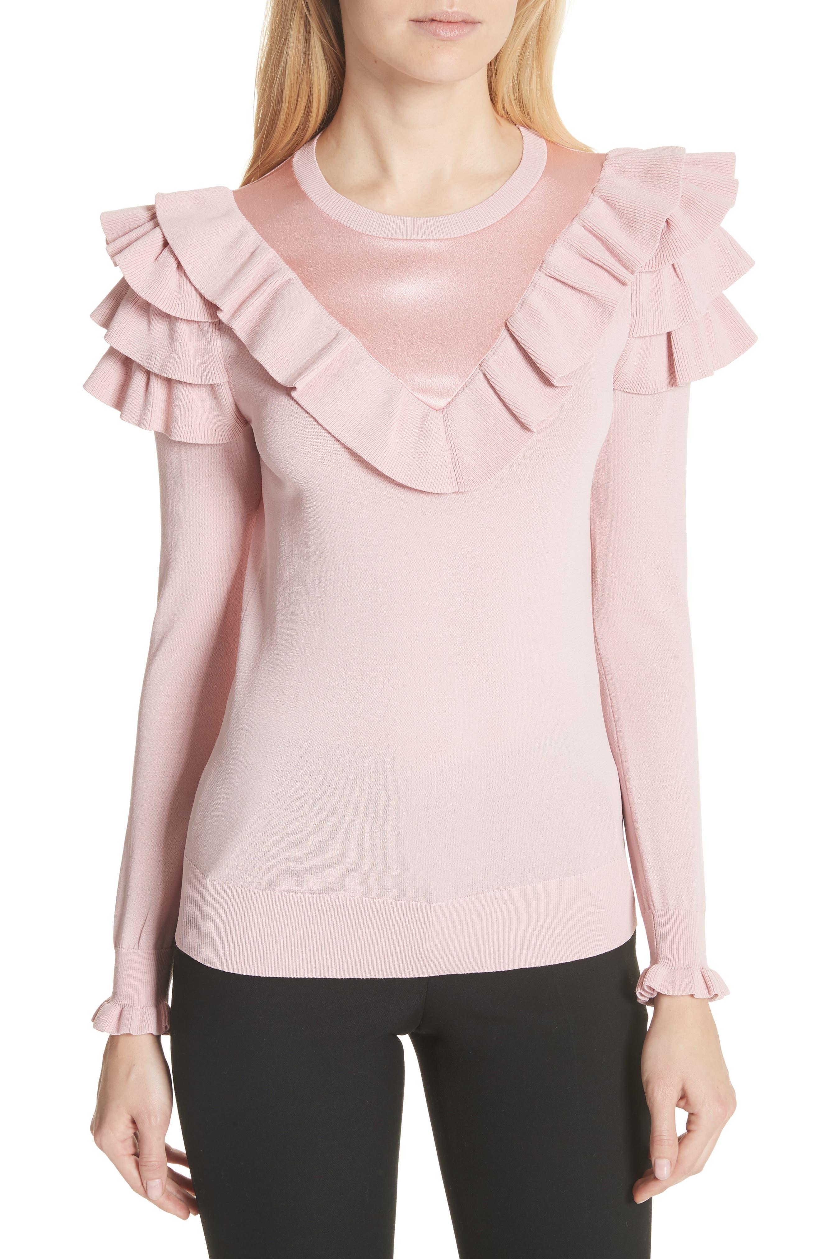 Satin Contrast Ruffle Sweater,                             Main thumbnail 1, color,                             Dusky Pink